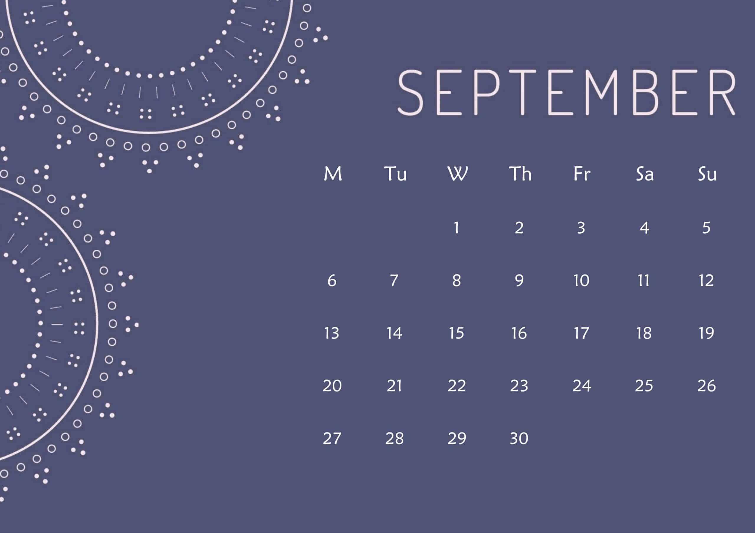 Cute Calendar September 2021 Page