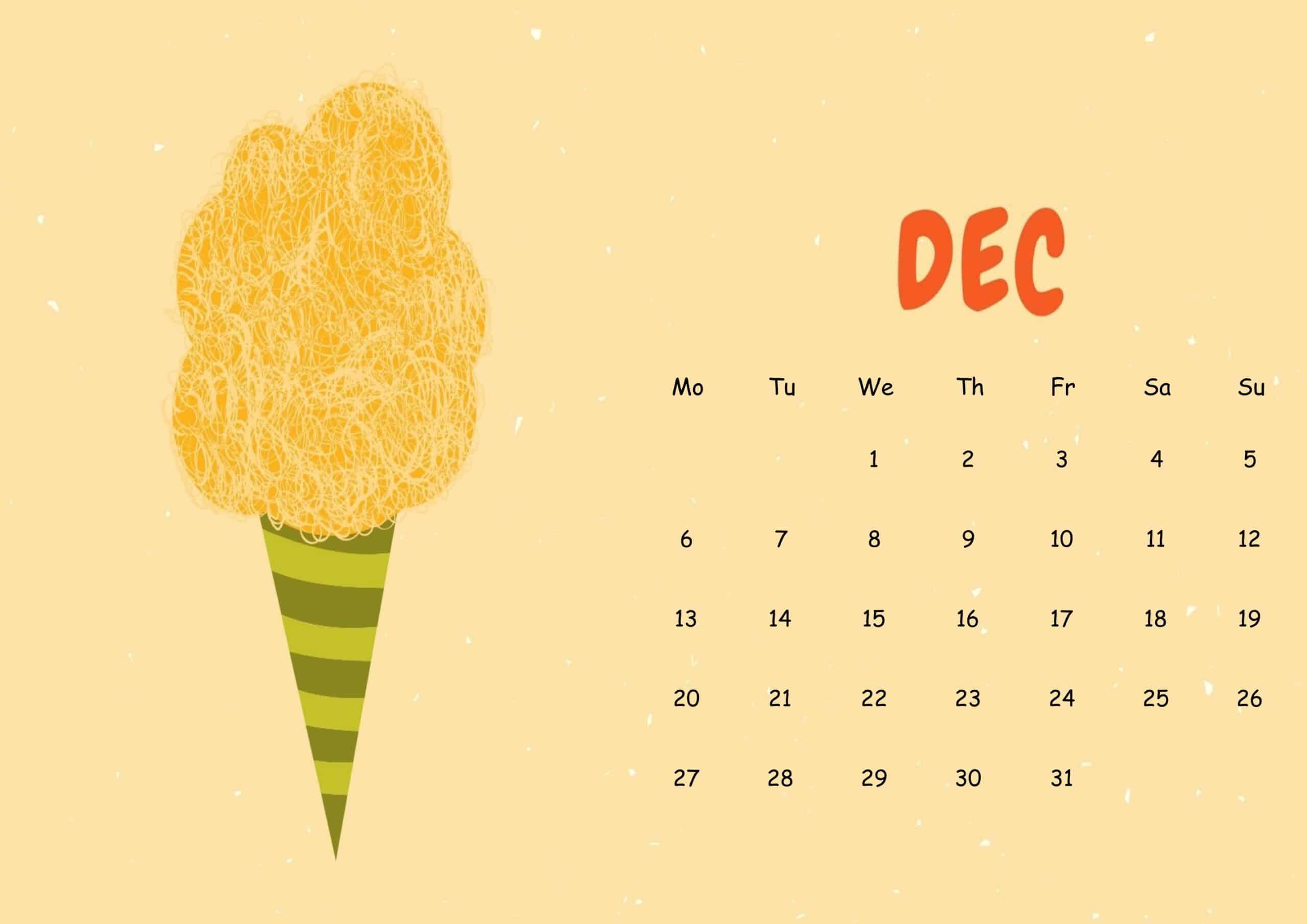 Cute December 2021 Calendar Sheet