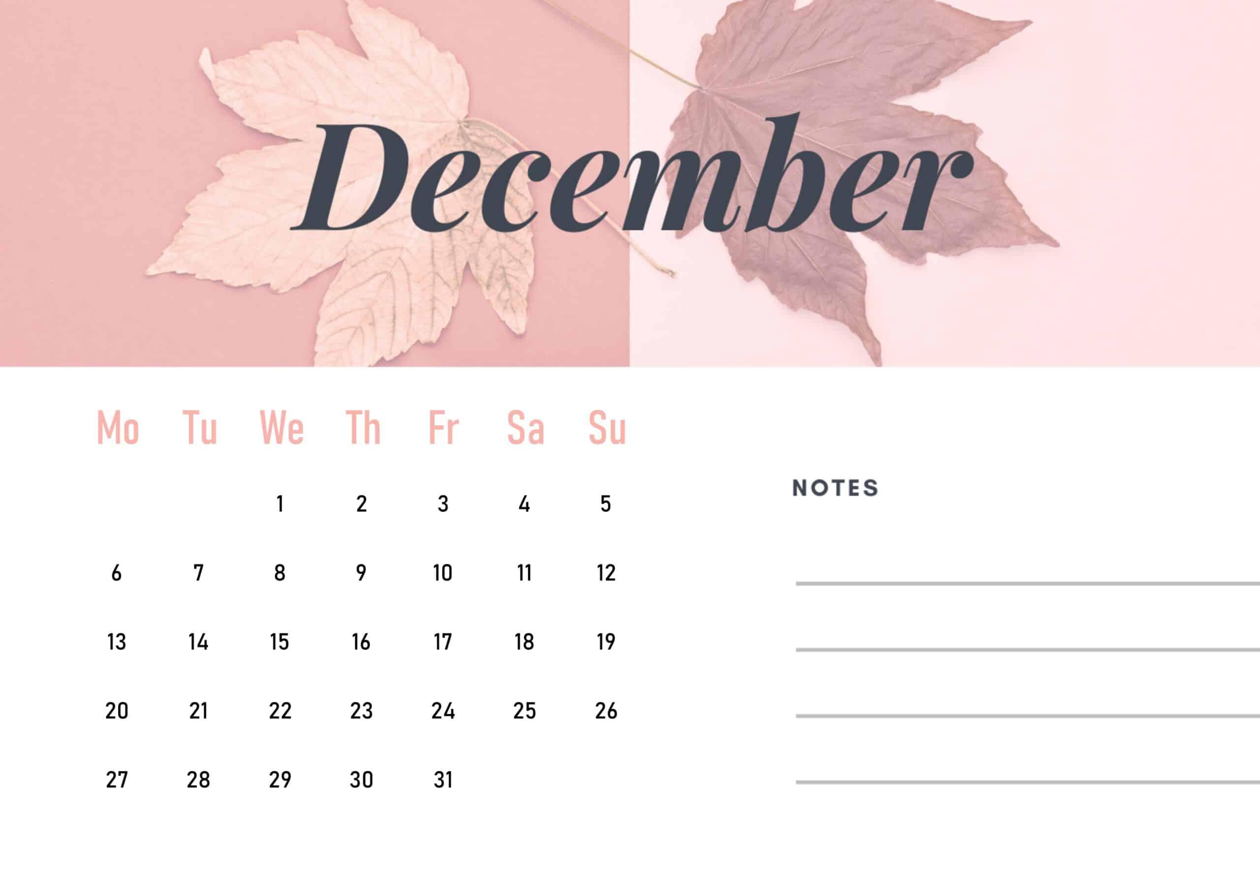 Cute December 2021 Calendar Wallpaper download