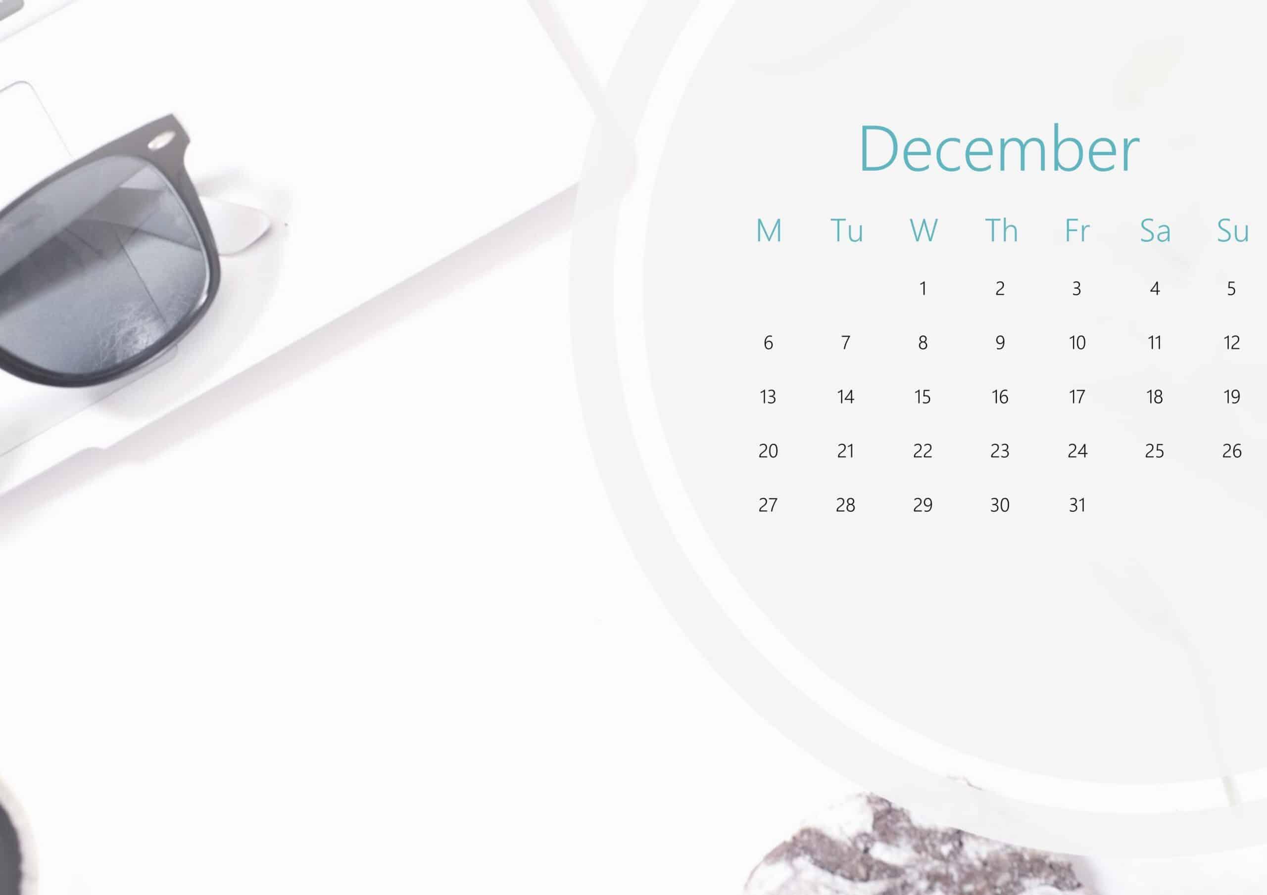 Cute December Calendar 2021