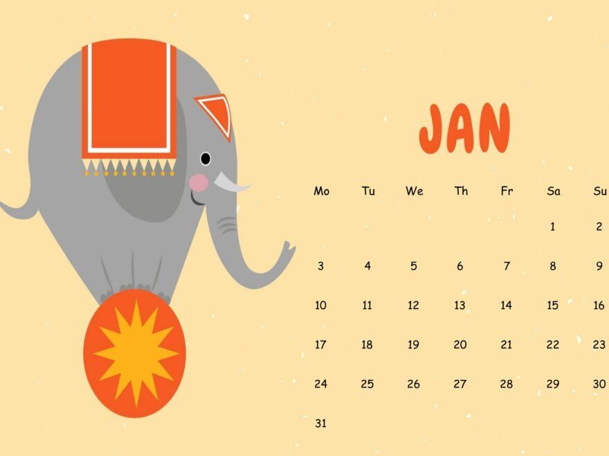 Cute January 2022 Calendar Sheet