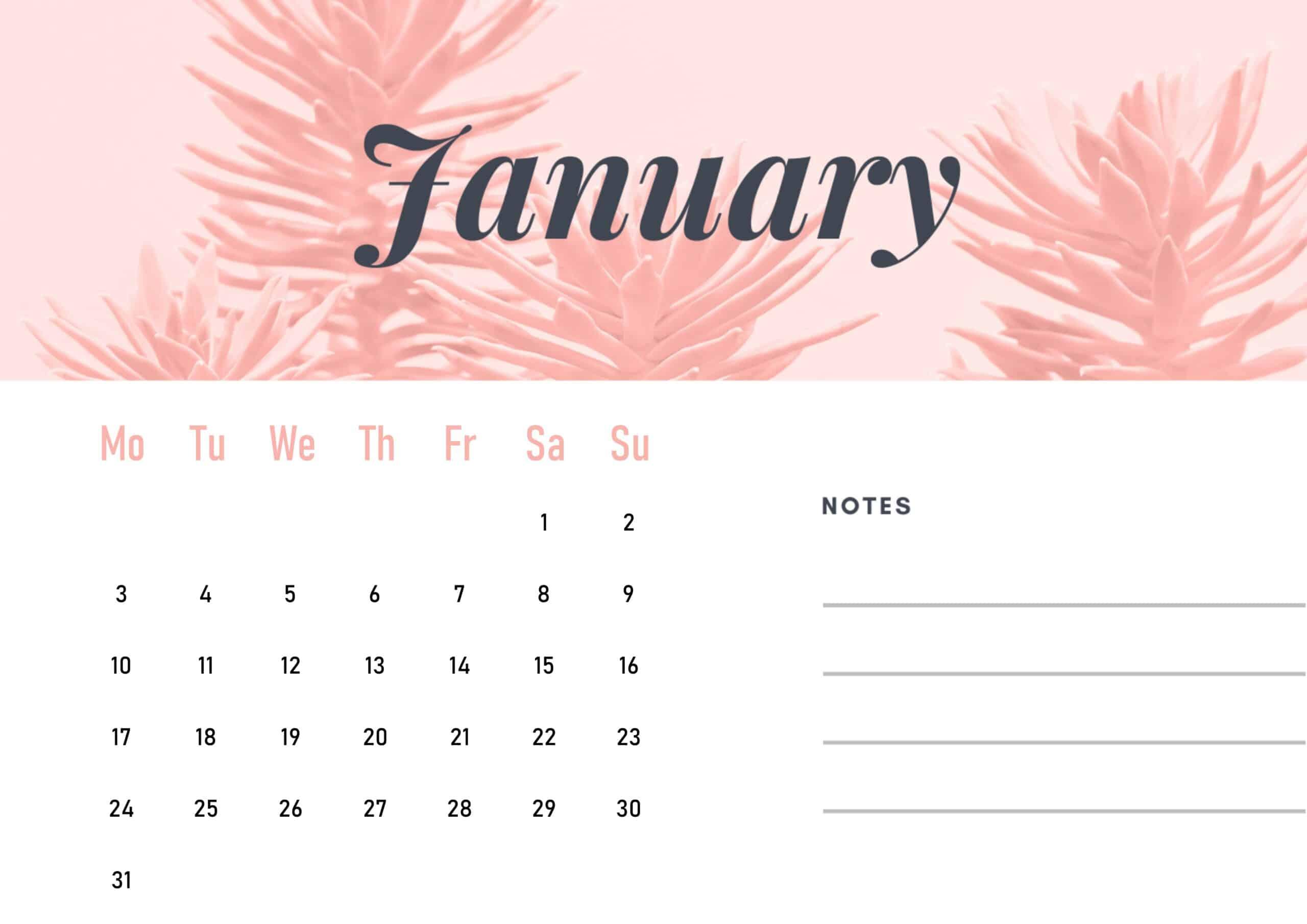 Cute January 2022 Calendar Wallpaper download