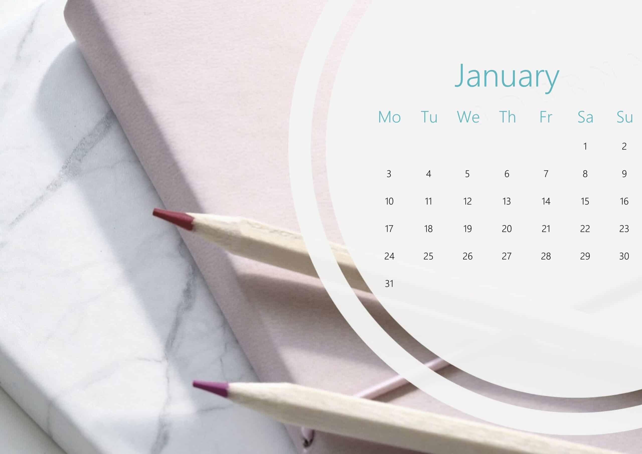 Cute January Calendar 2022