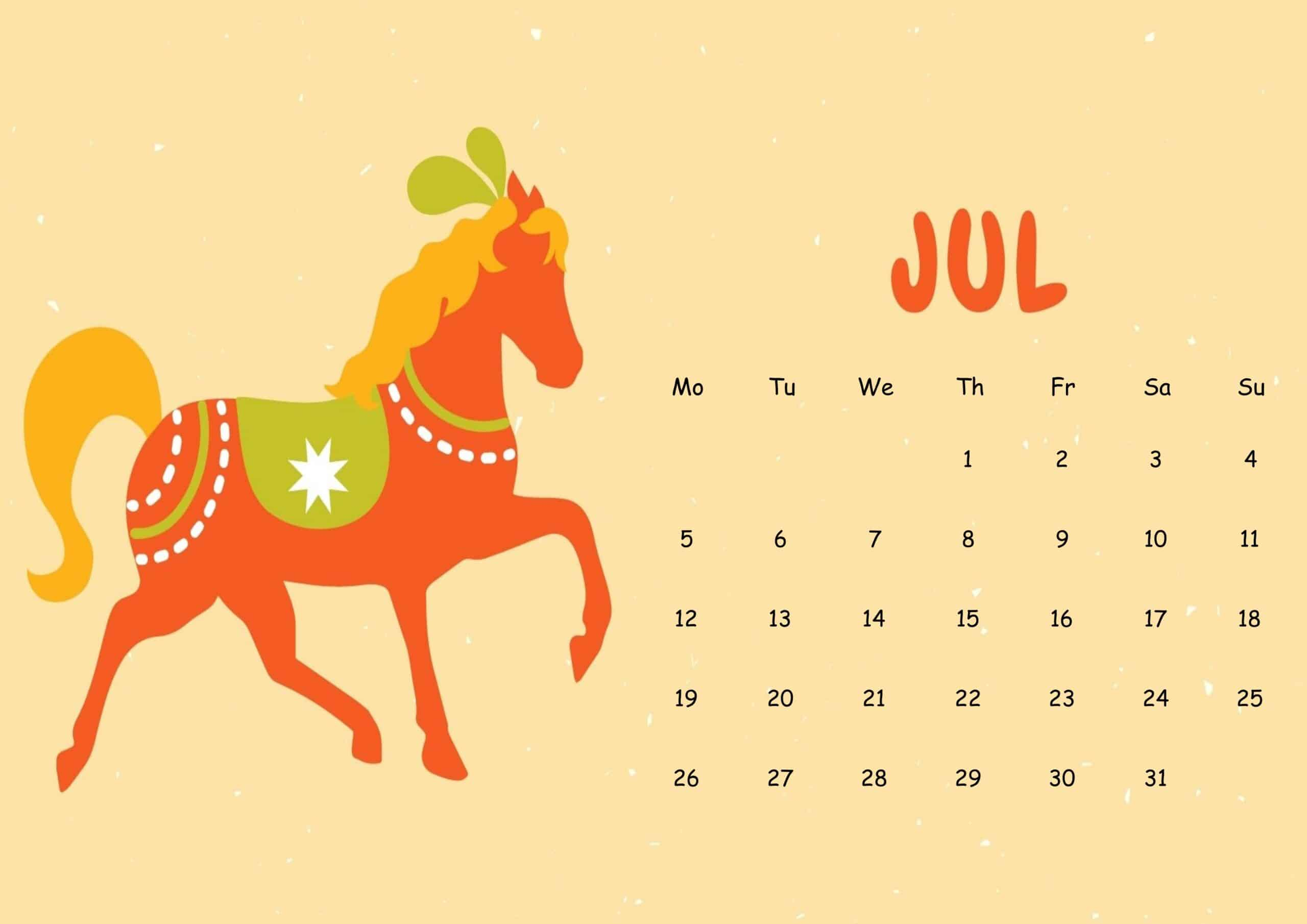 Cute July 2021 Calendar Sheet