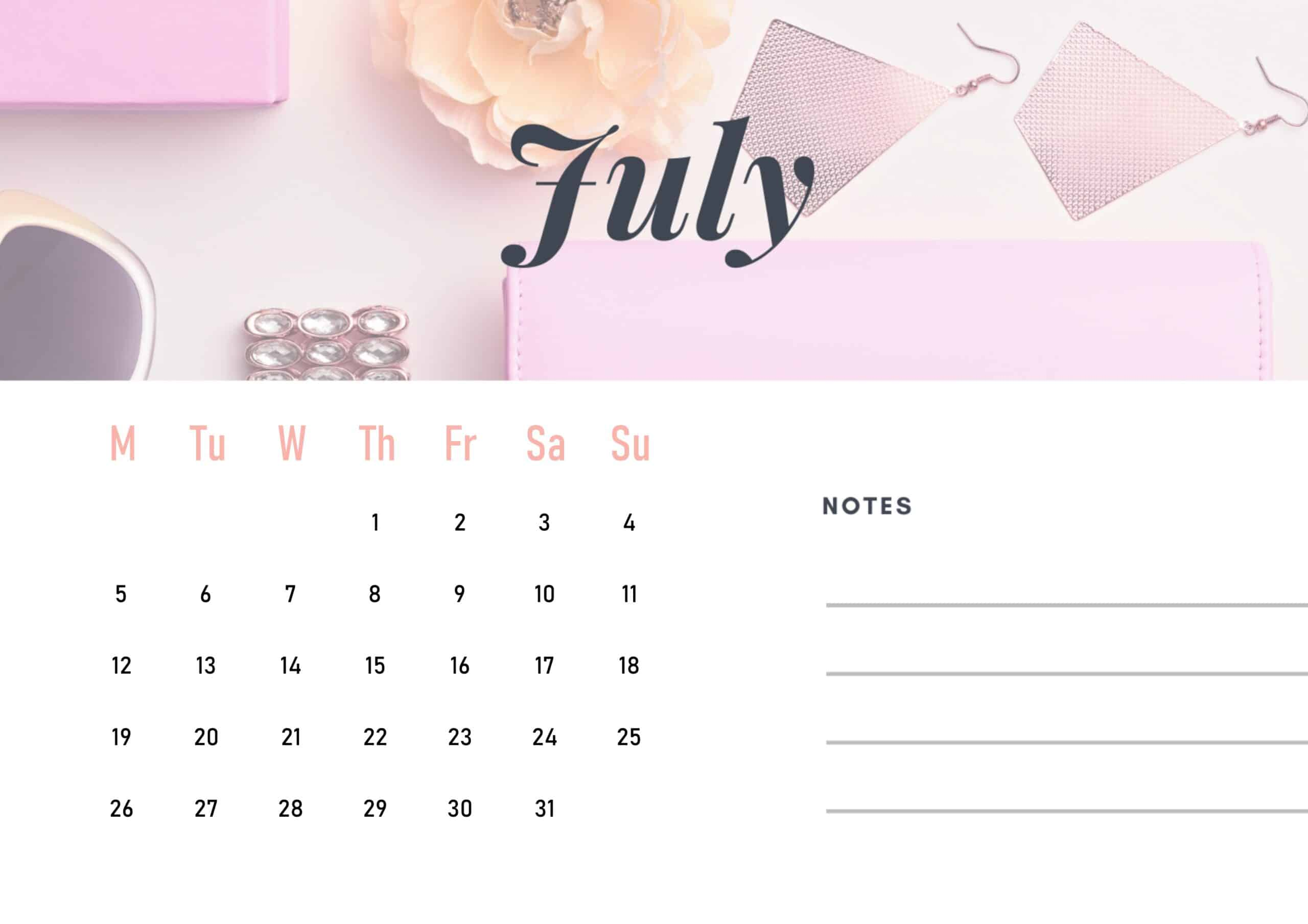 Cute July 2021 Calendar Wallpaper download