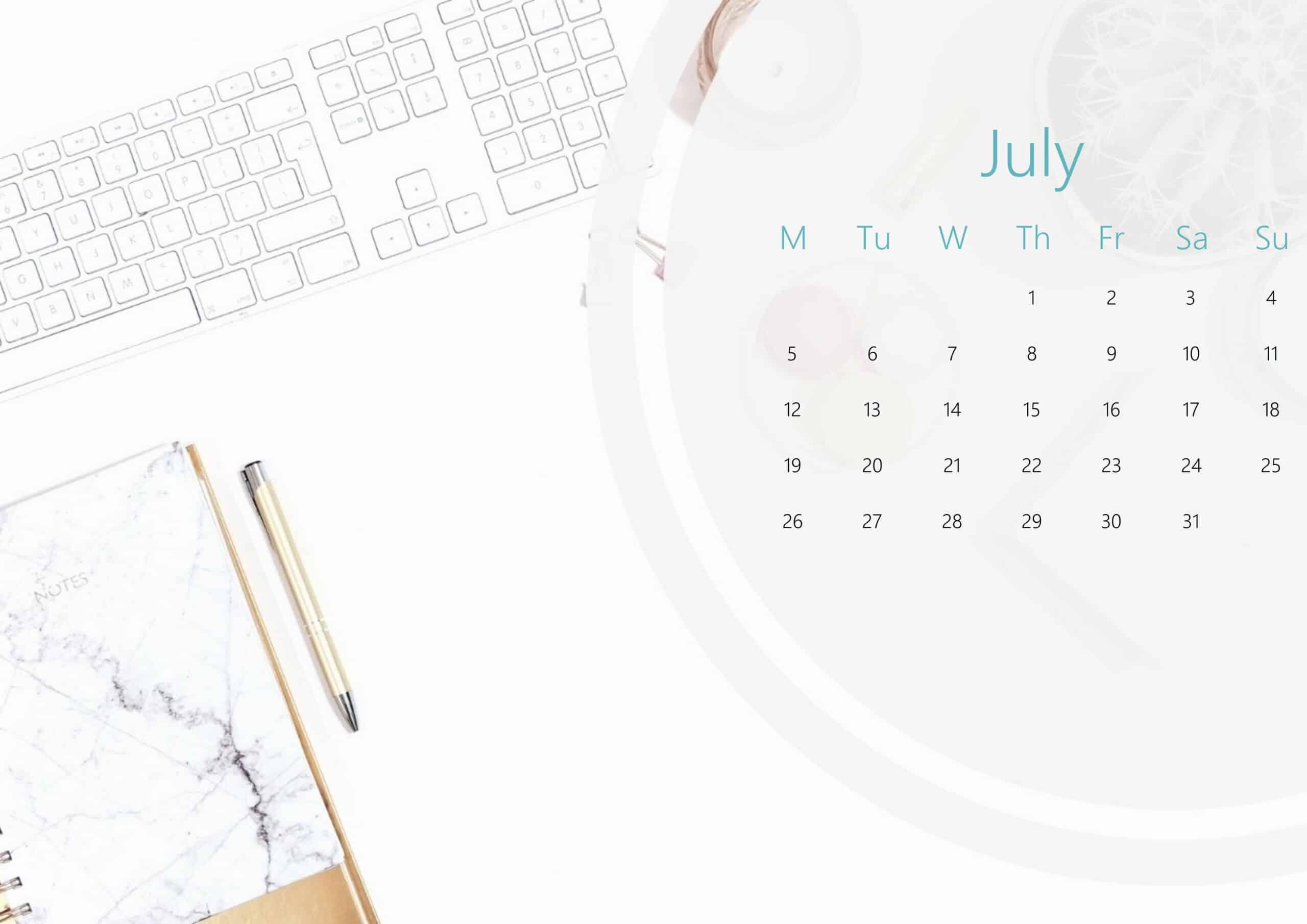 Cute July Calendar 2021