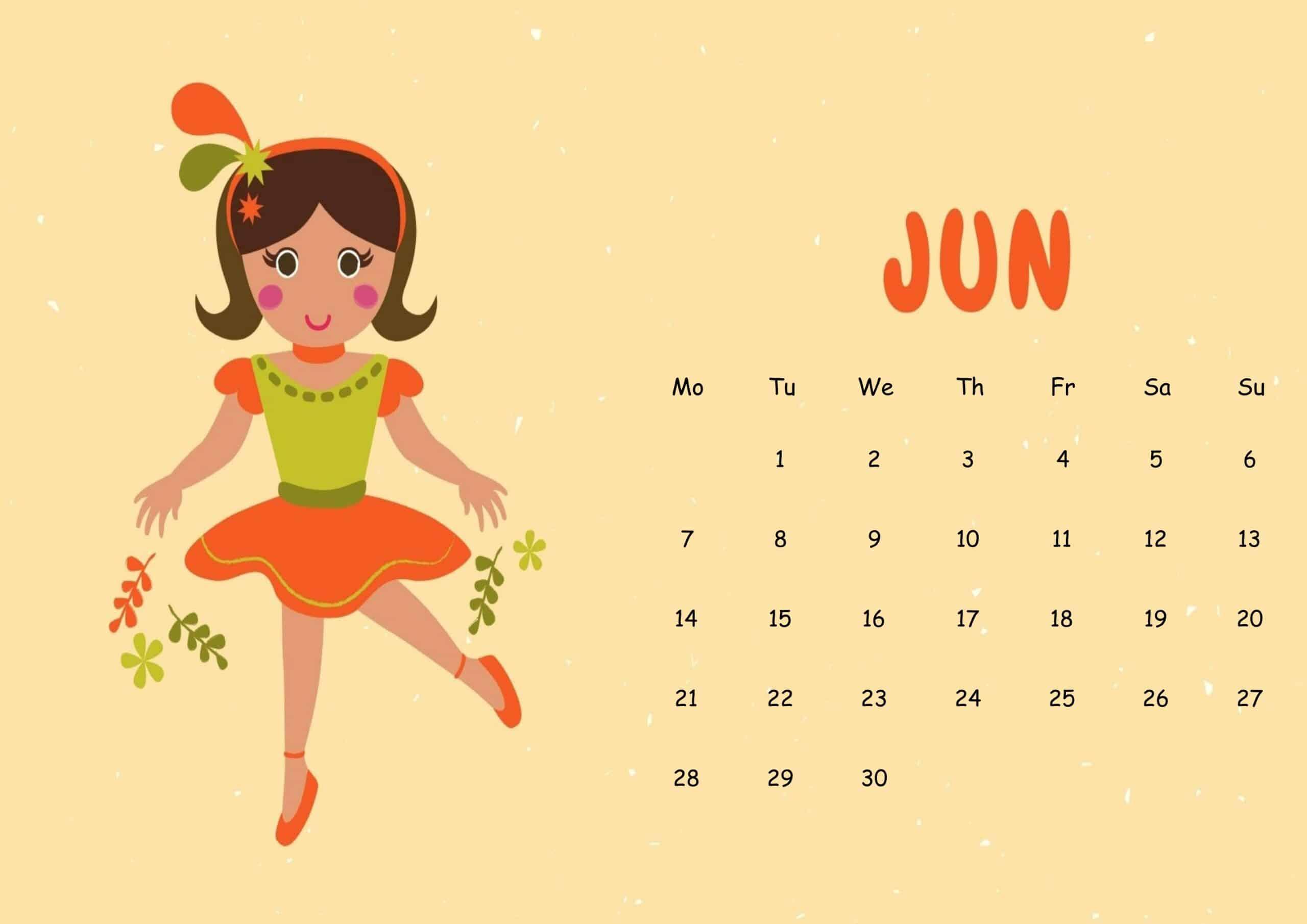 Cute June 2021 Calendar Sheet
