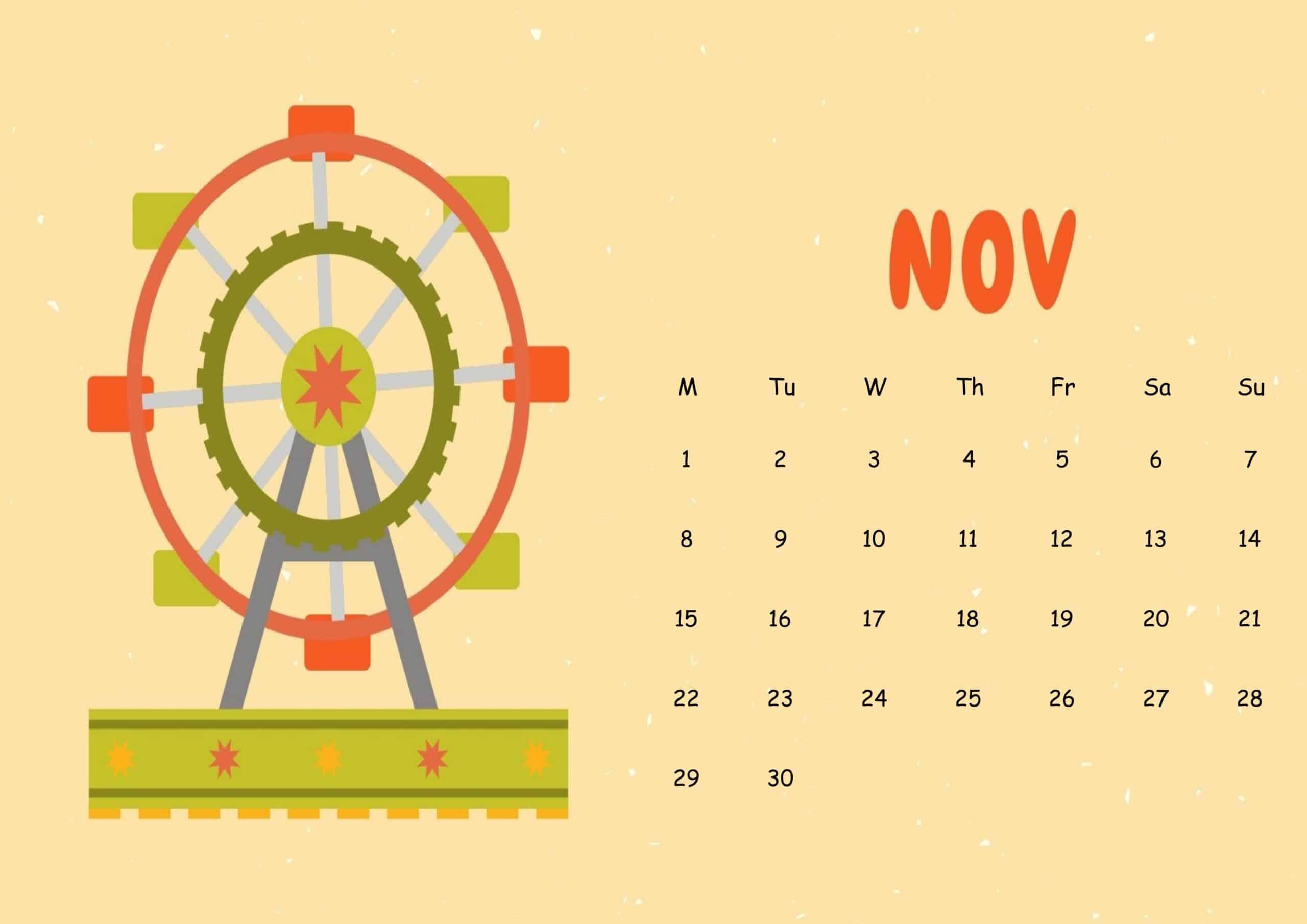 Cute November 2021 Calendar Sheet
