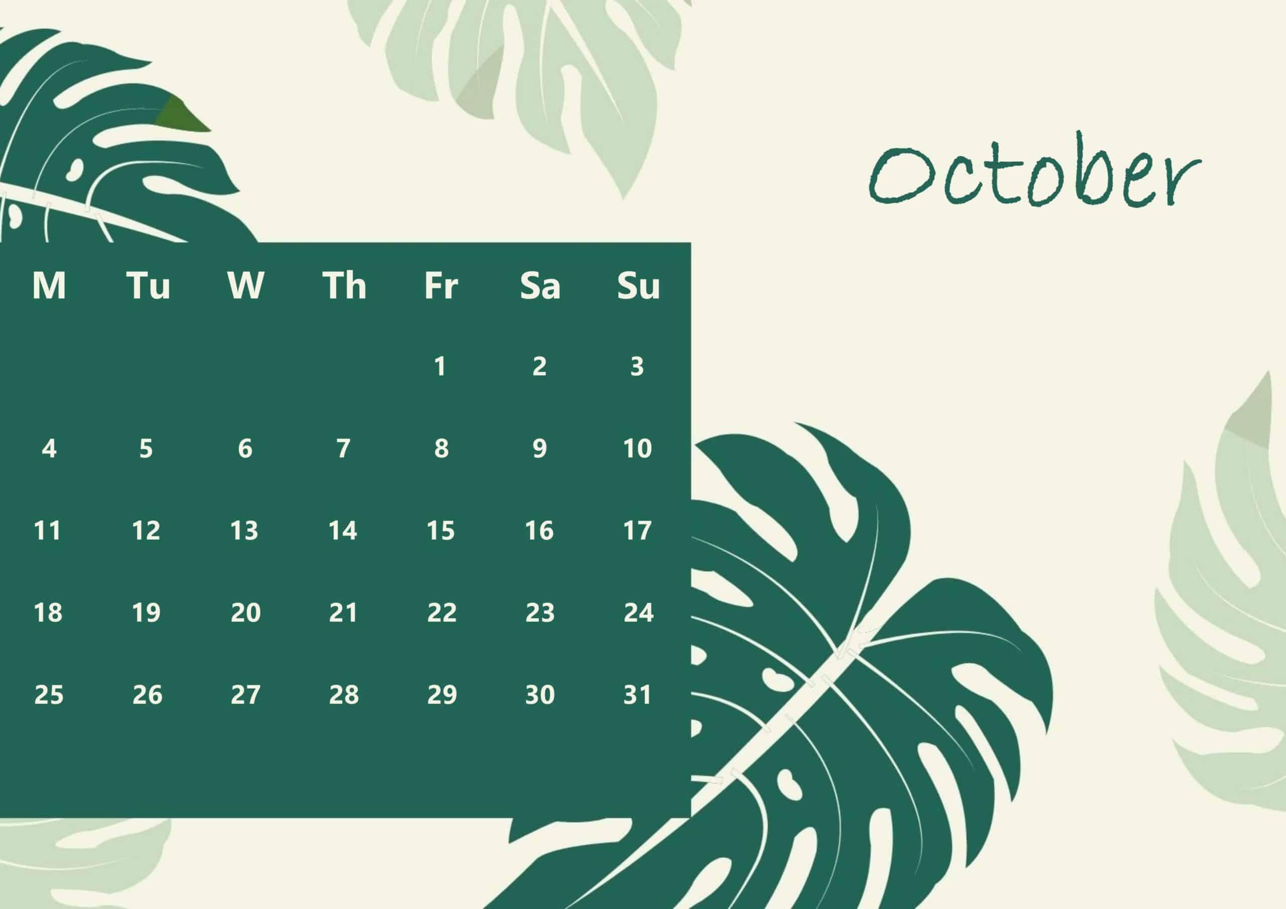 Cute October 2021 Calendar ForMAT