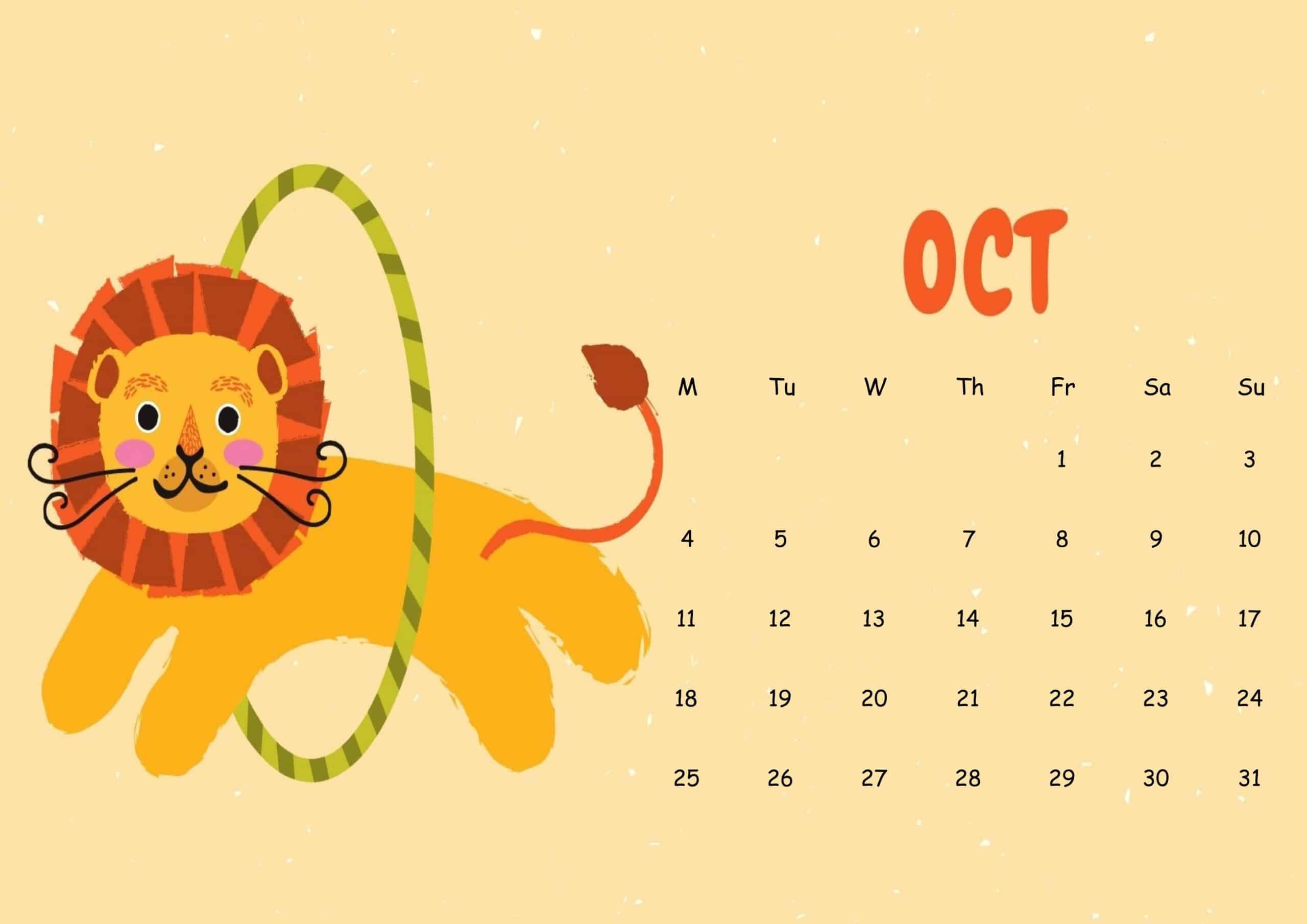 Cute October 2021 Calendar Sheet