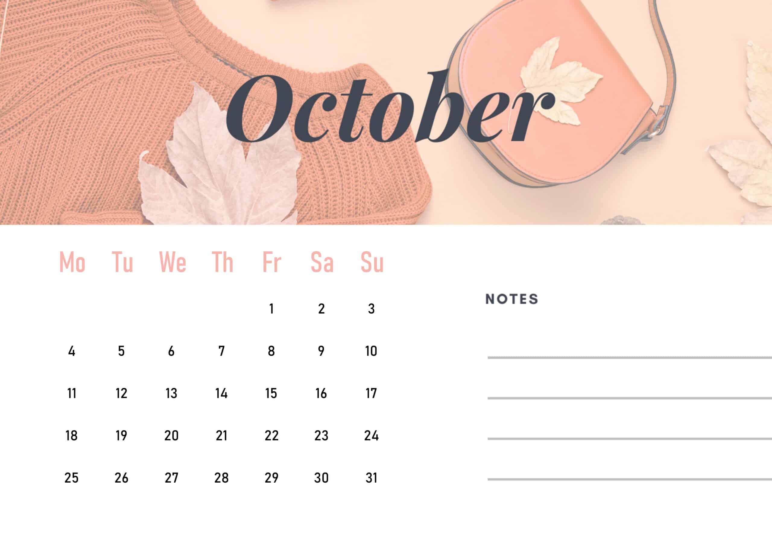 Cute October 2021 Calendar Wallpaper download