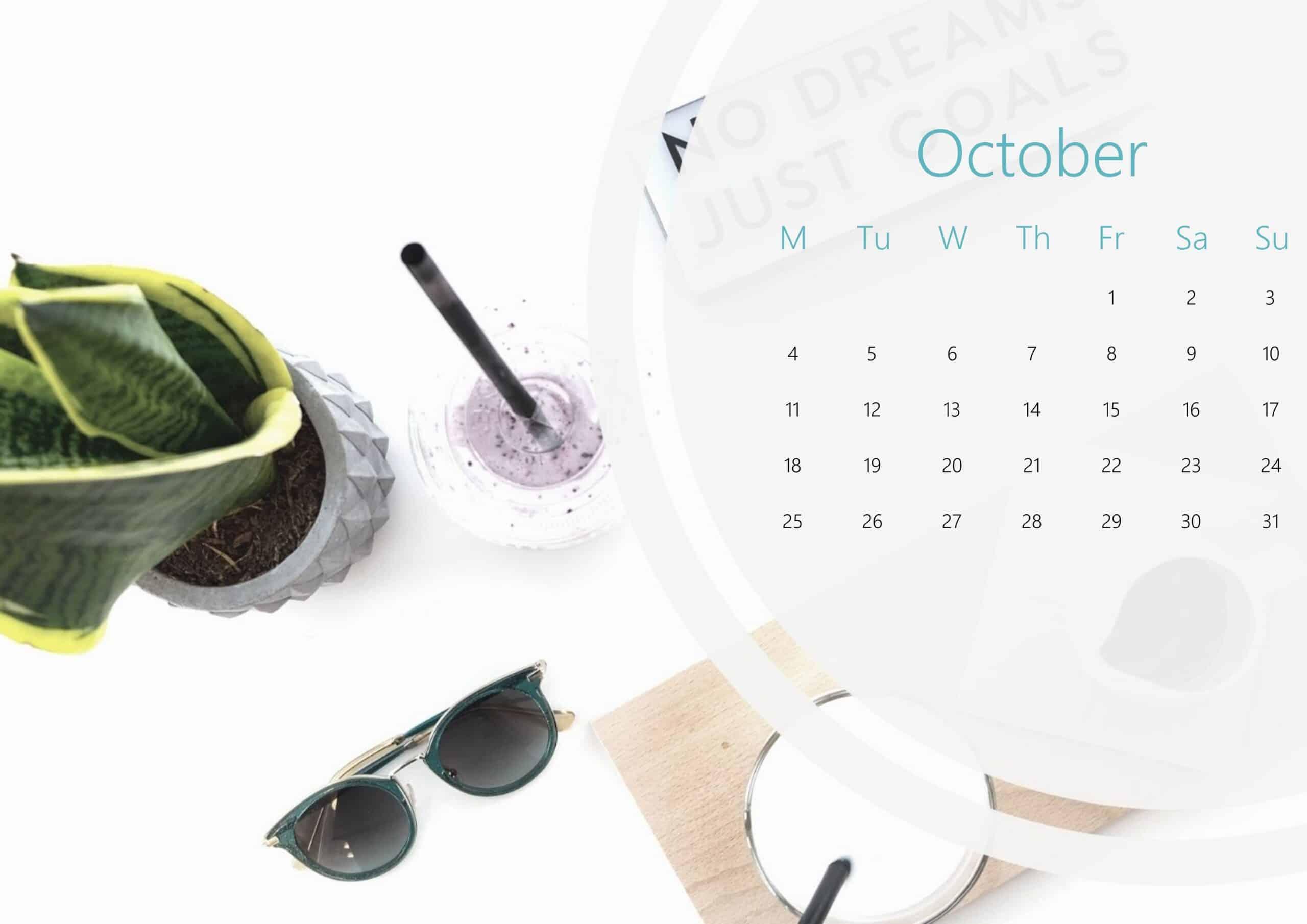 Cute October Calendar 2021
