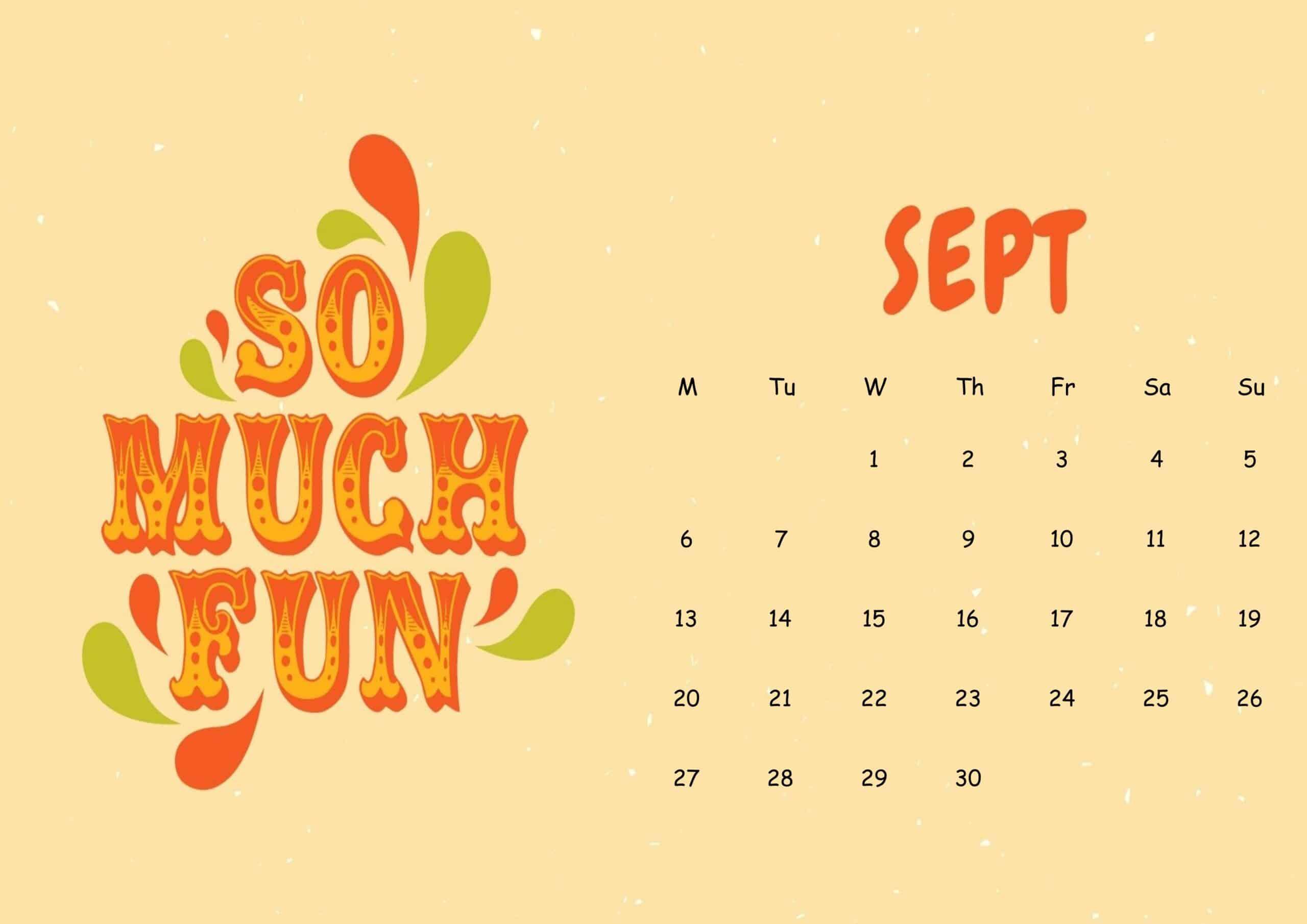 Cute September 2021 Calendar Sheet