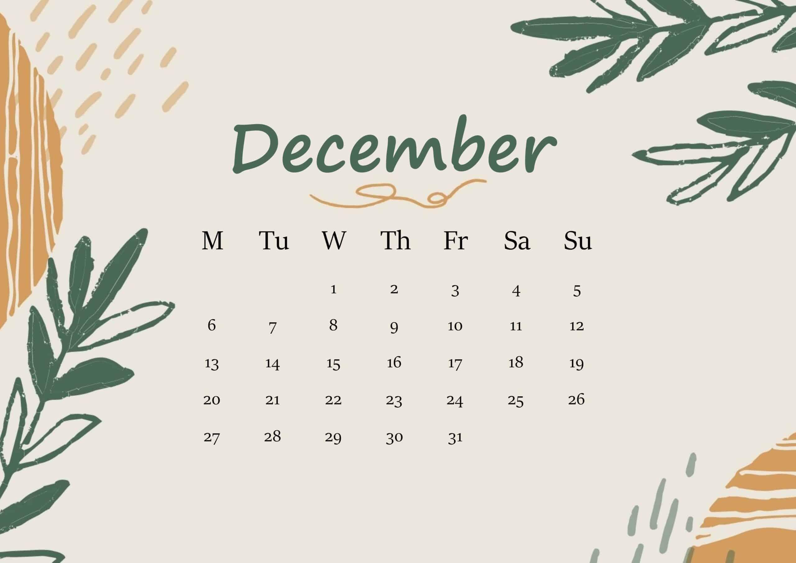 December 2021 Calendar Floral
