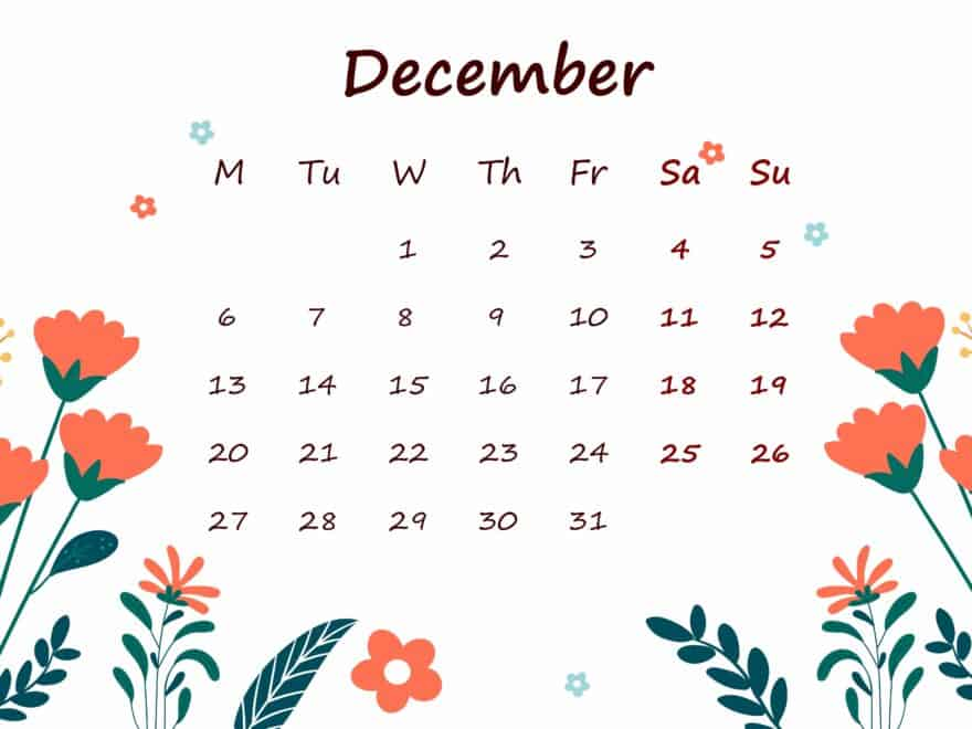December 2021 Calendar Printable For Kids