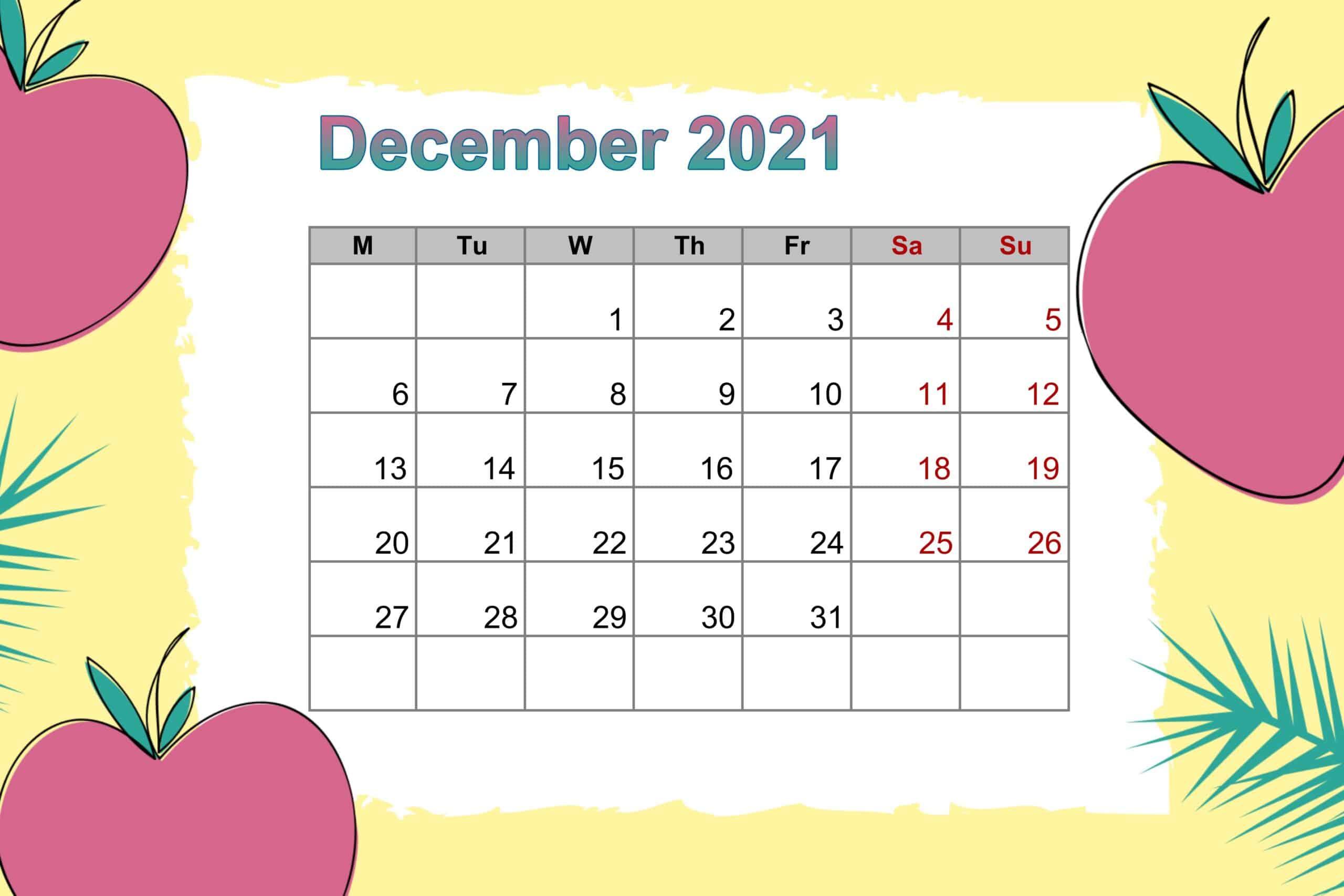 December 2021 Floral Calendar