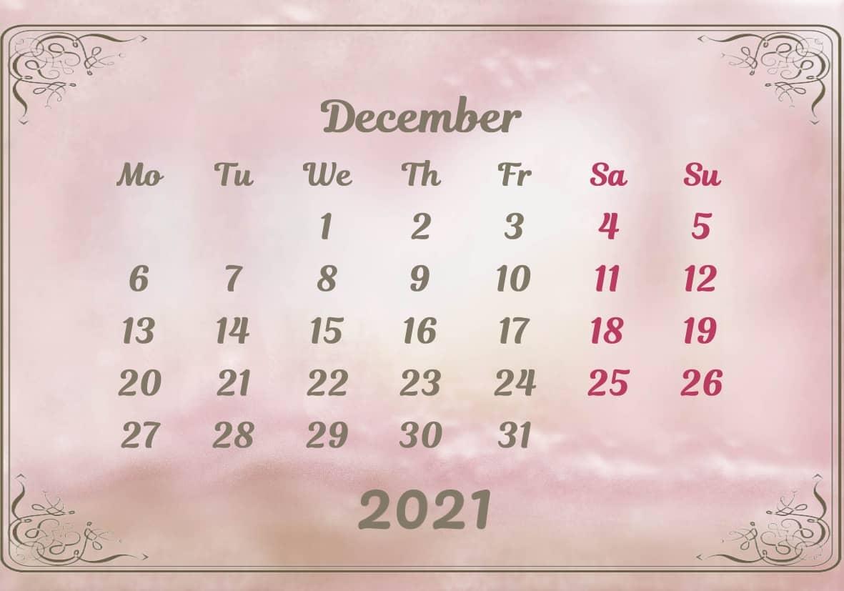 December Calendar 2021 Excel downlaod