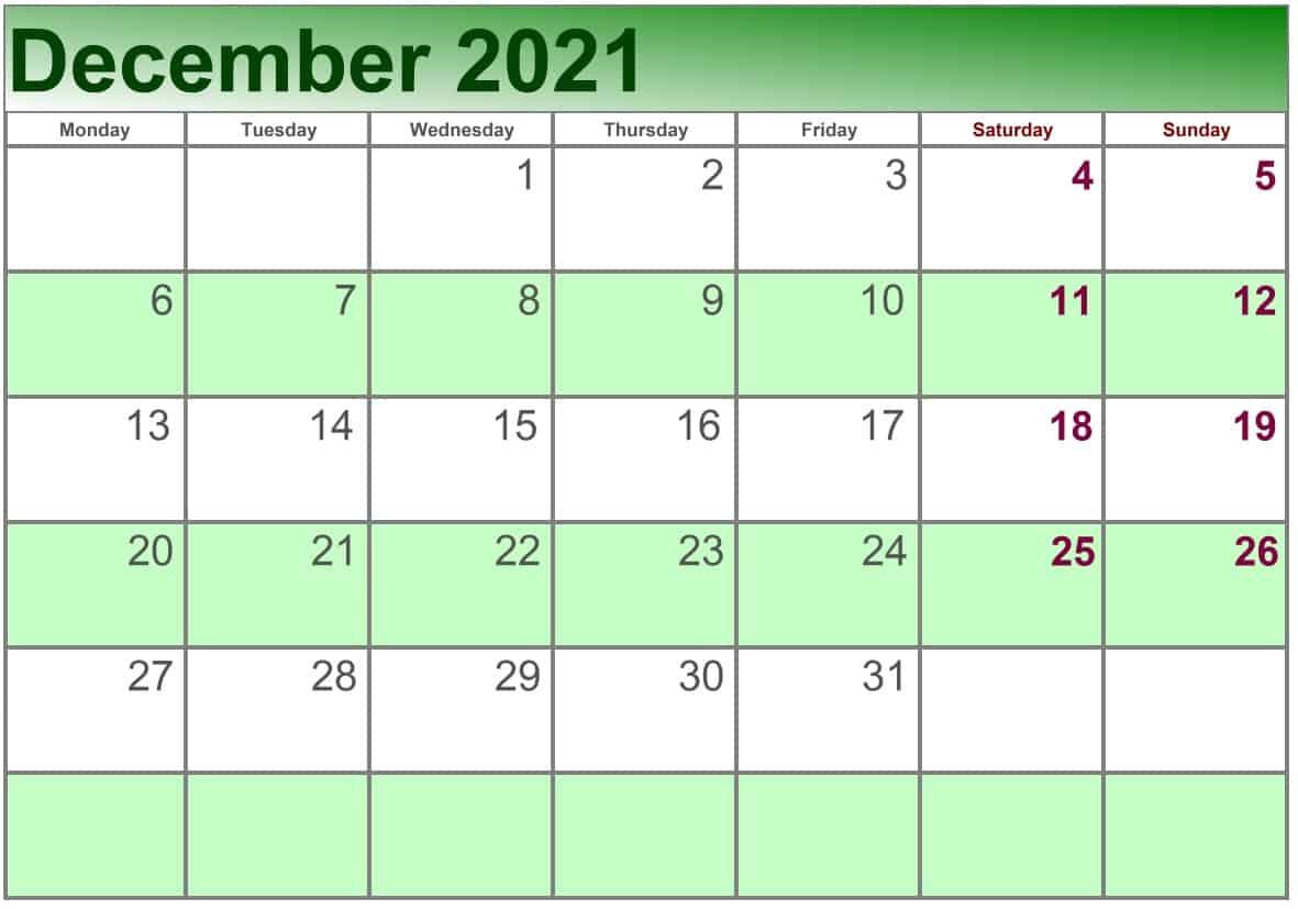 December Calendar 2021 Excel print
