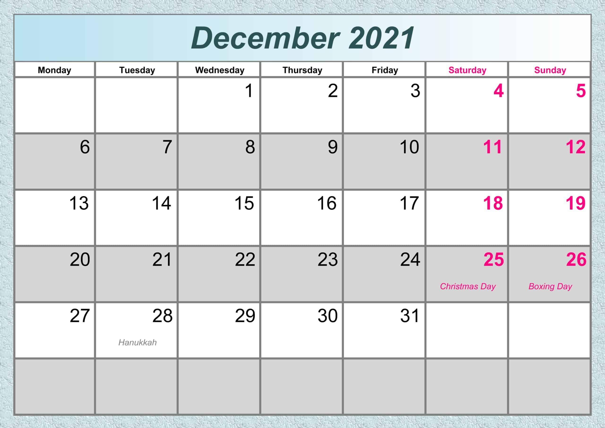 December Calendar 2021 Excel
