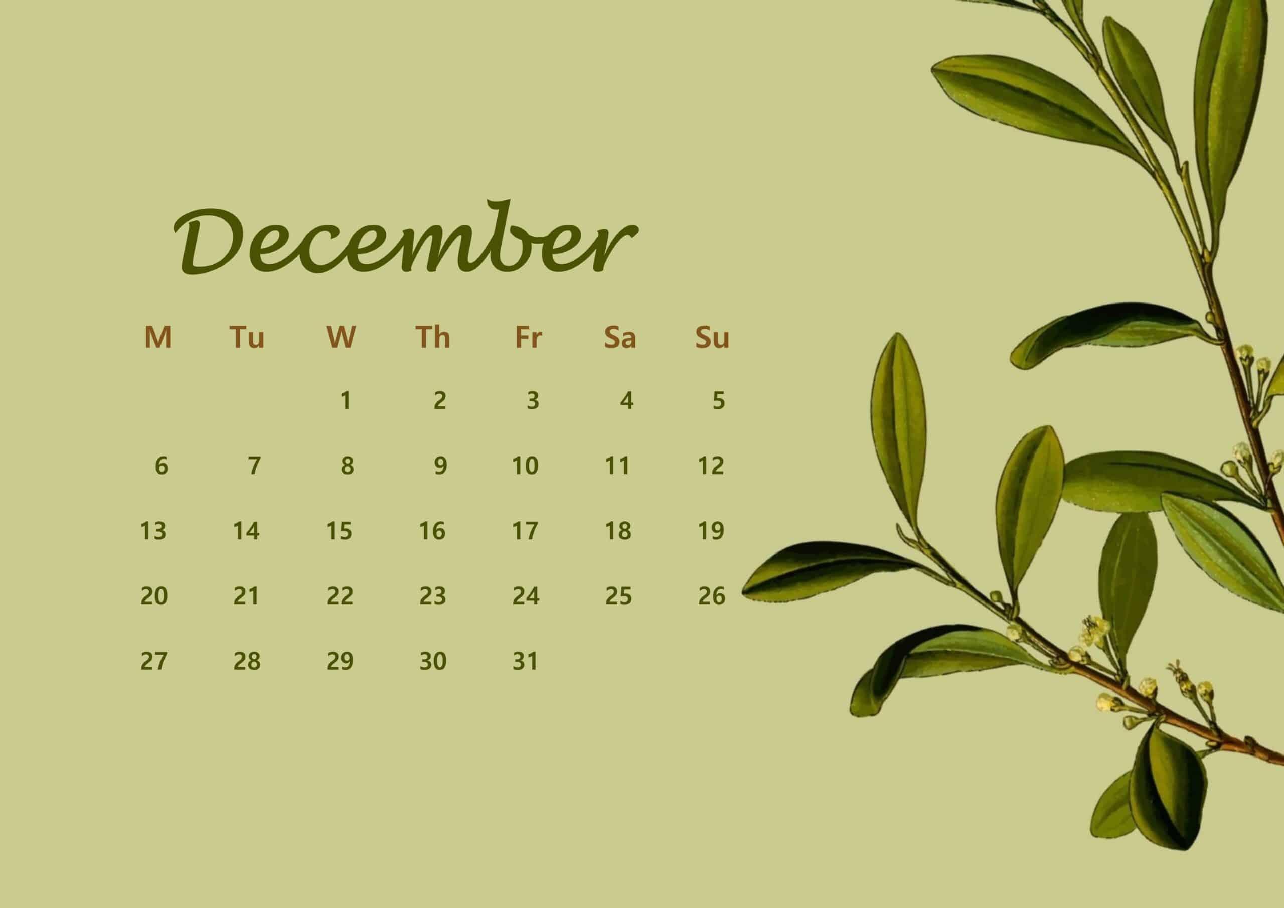 December Calendar 2021 Floral