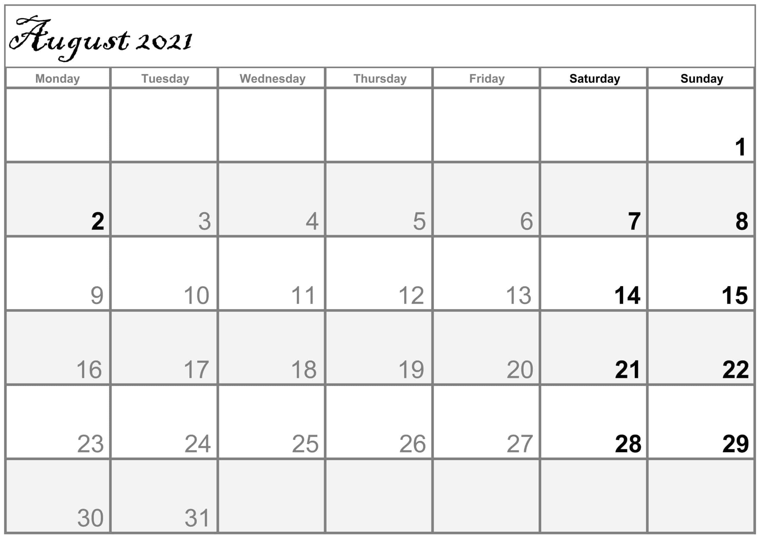 Excel August 2021 Calendar free