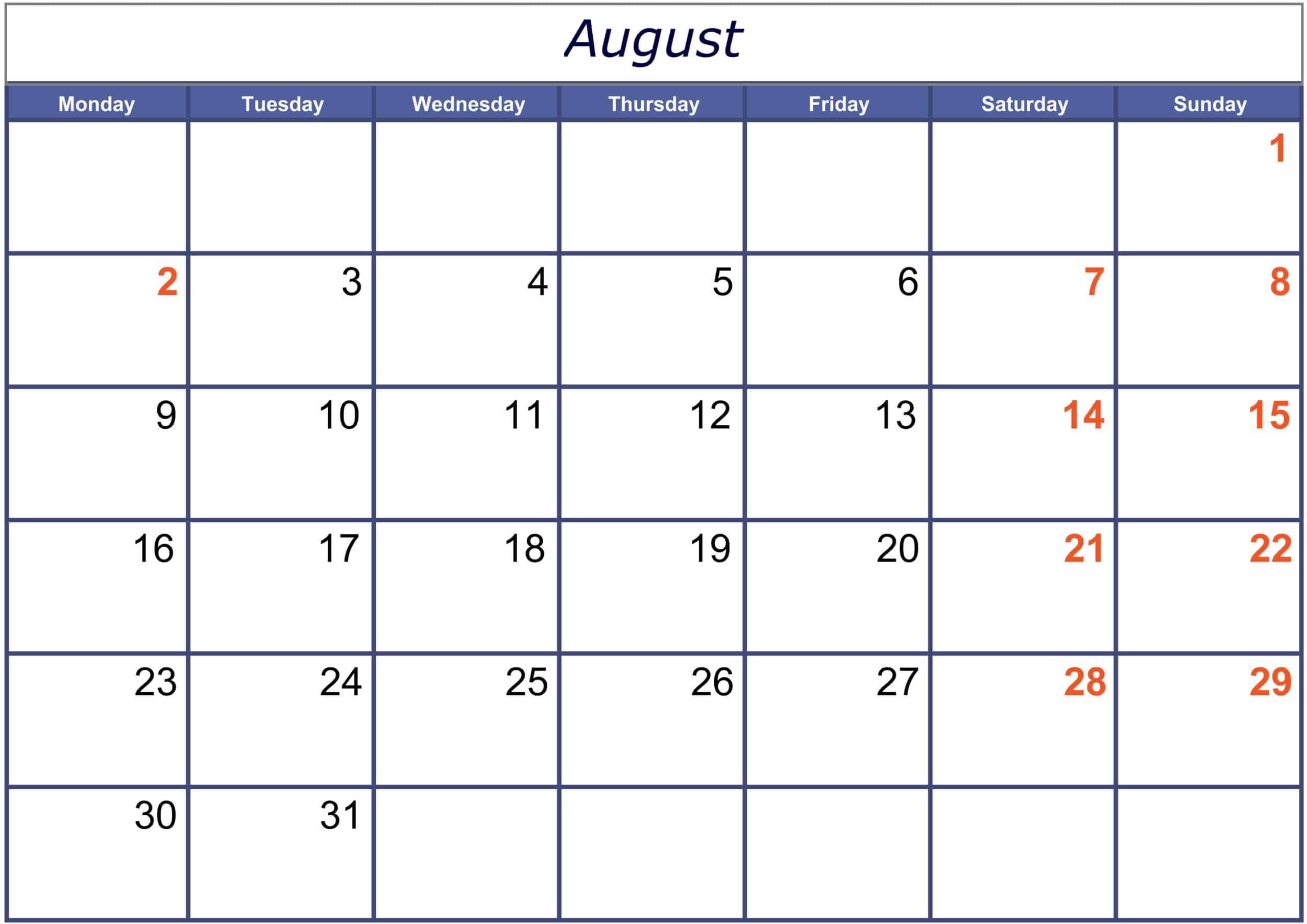 Excel August 2021 Calendar