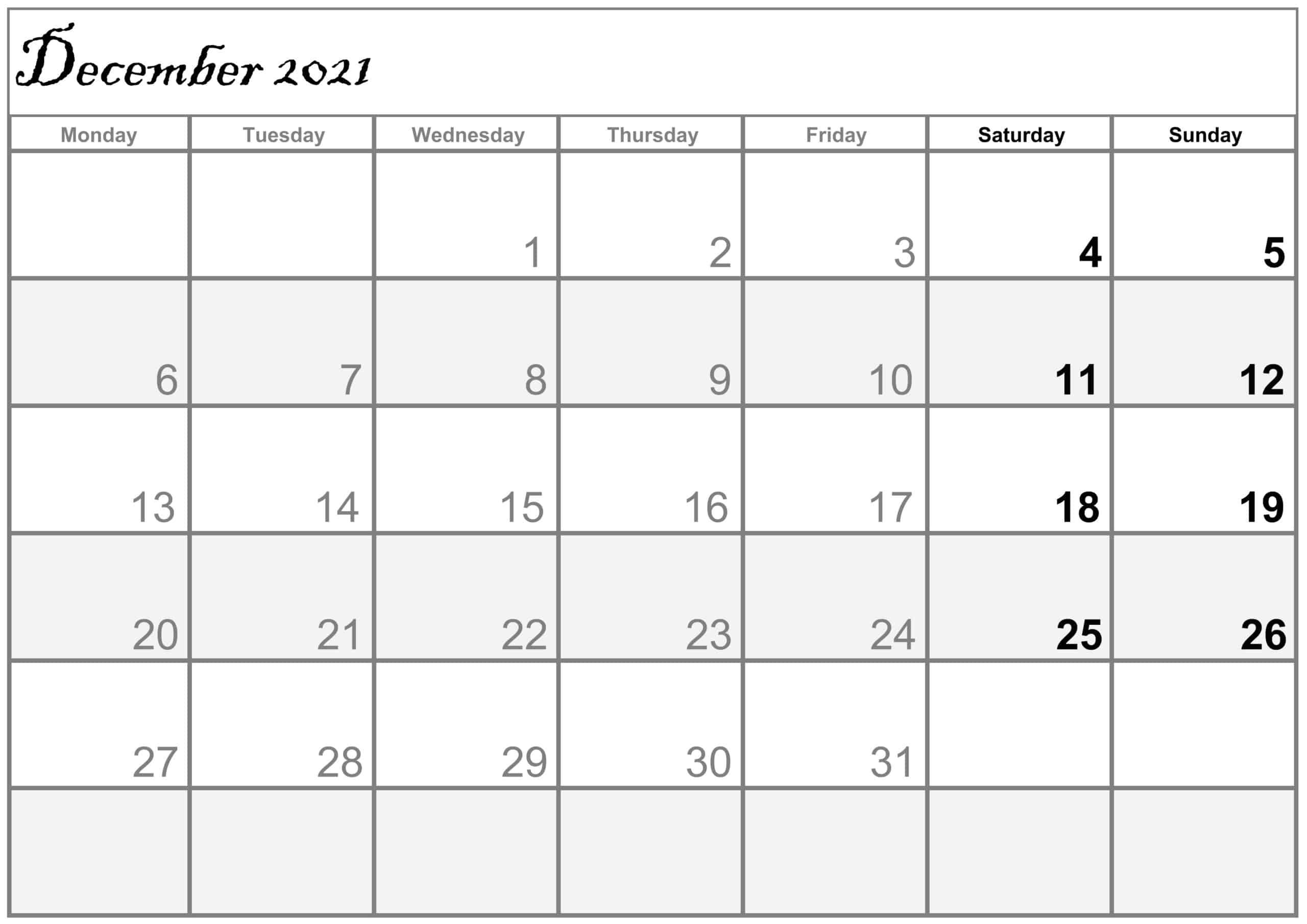 Excel December 2021 Calendar free