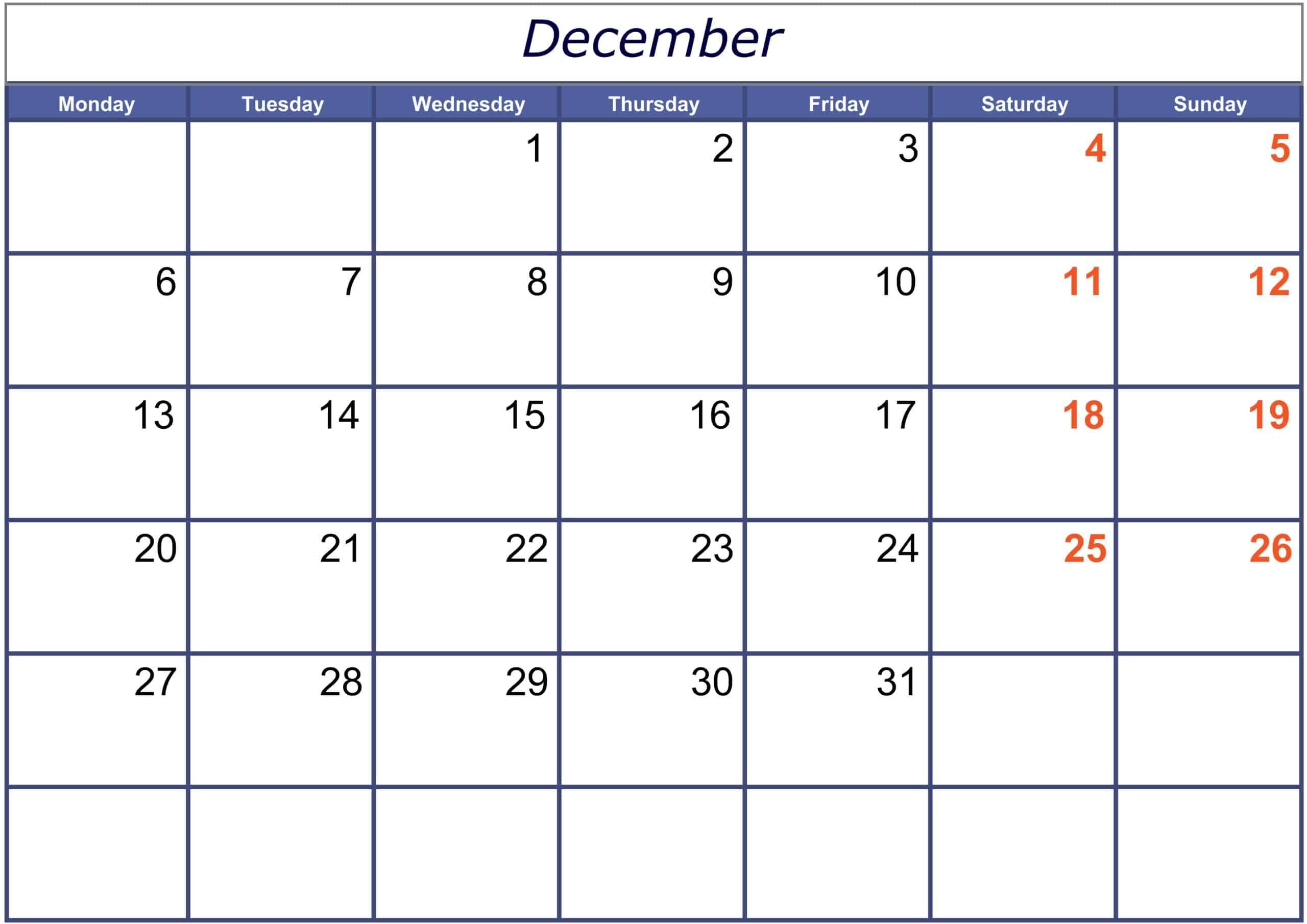 Excel December 2021 Calendar