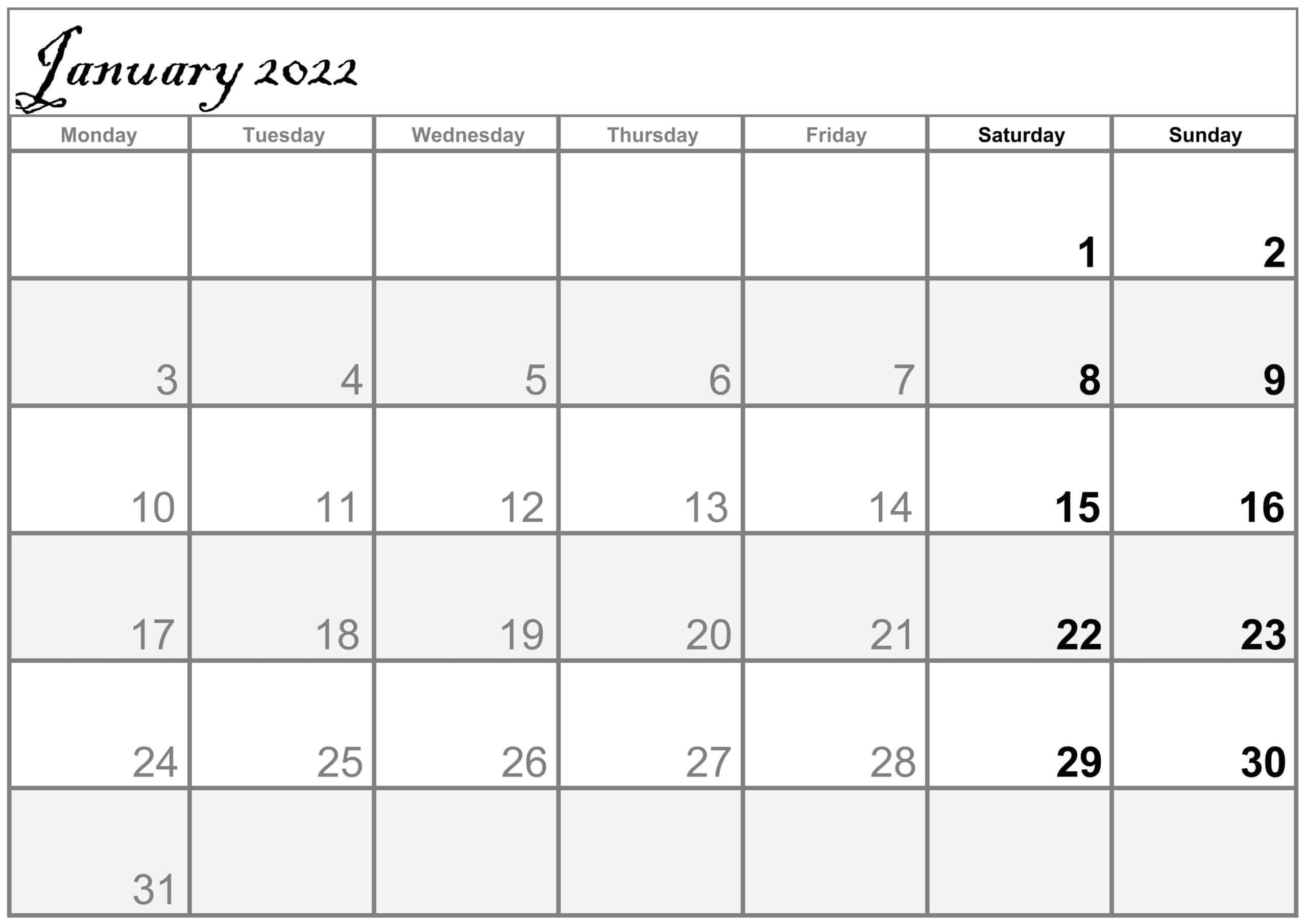 Excel January 2022 Calendar free