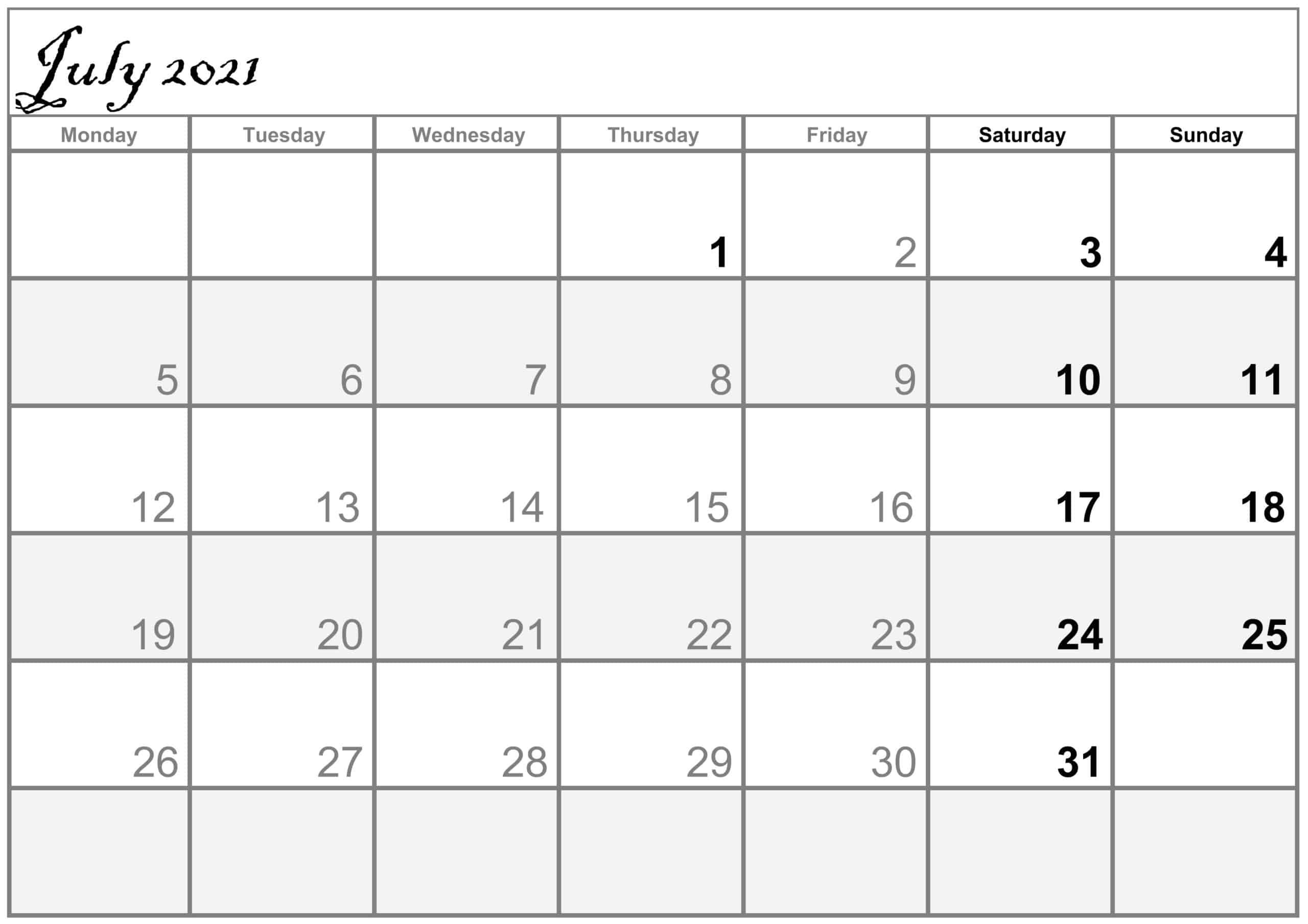 Excel July 2021 Calendar free