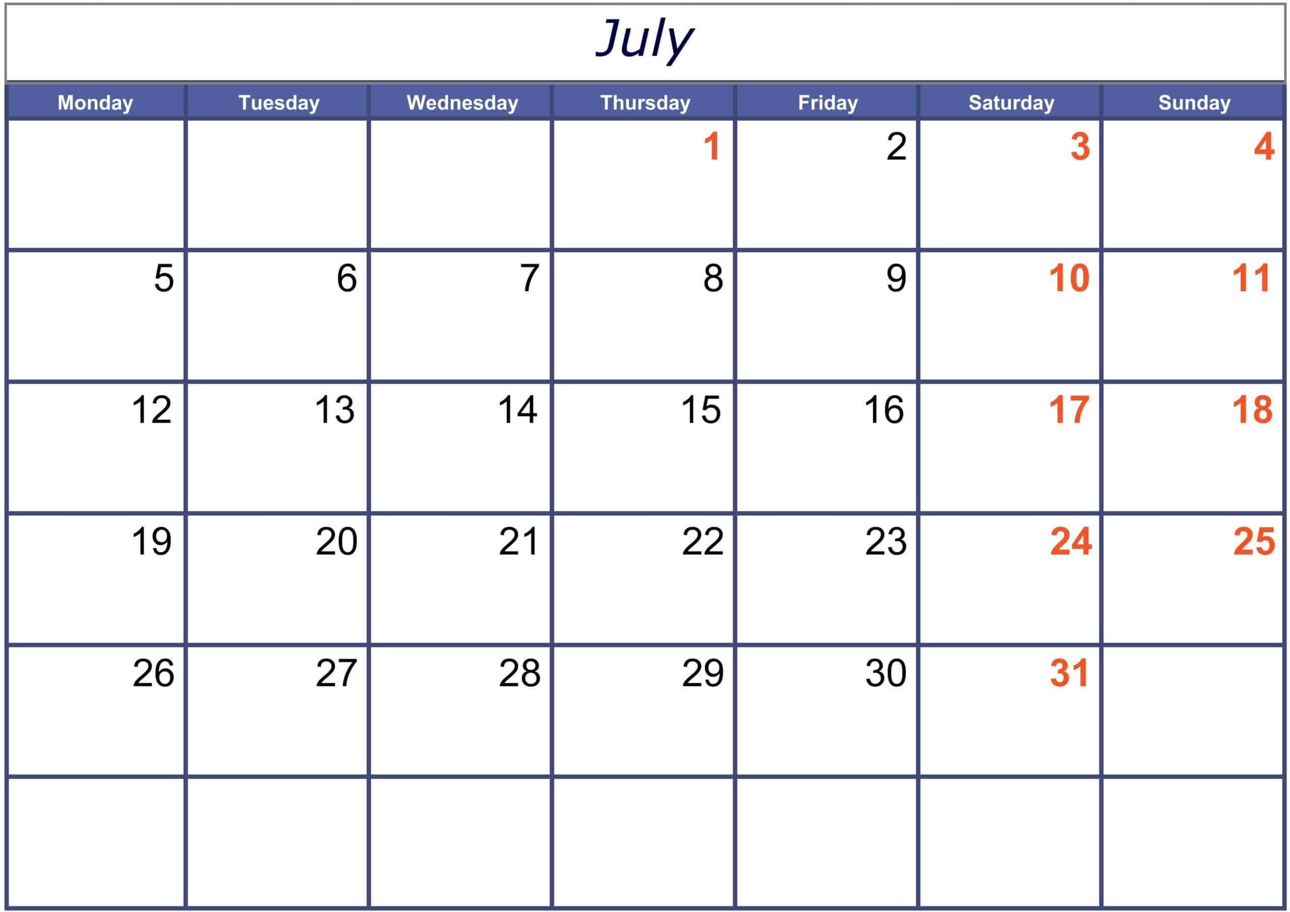 Excel July 2021 Calendar