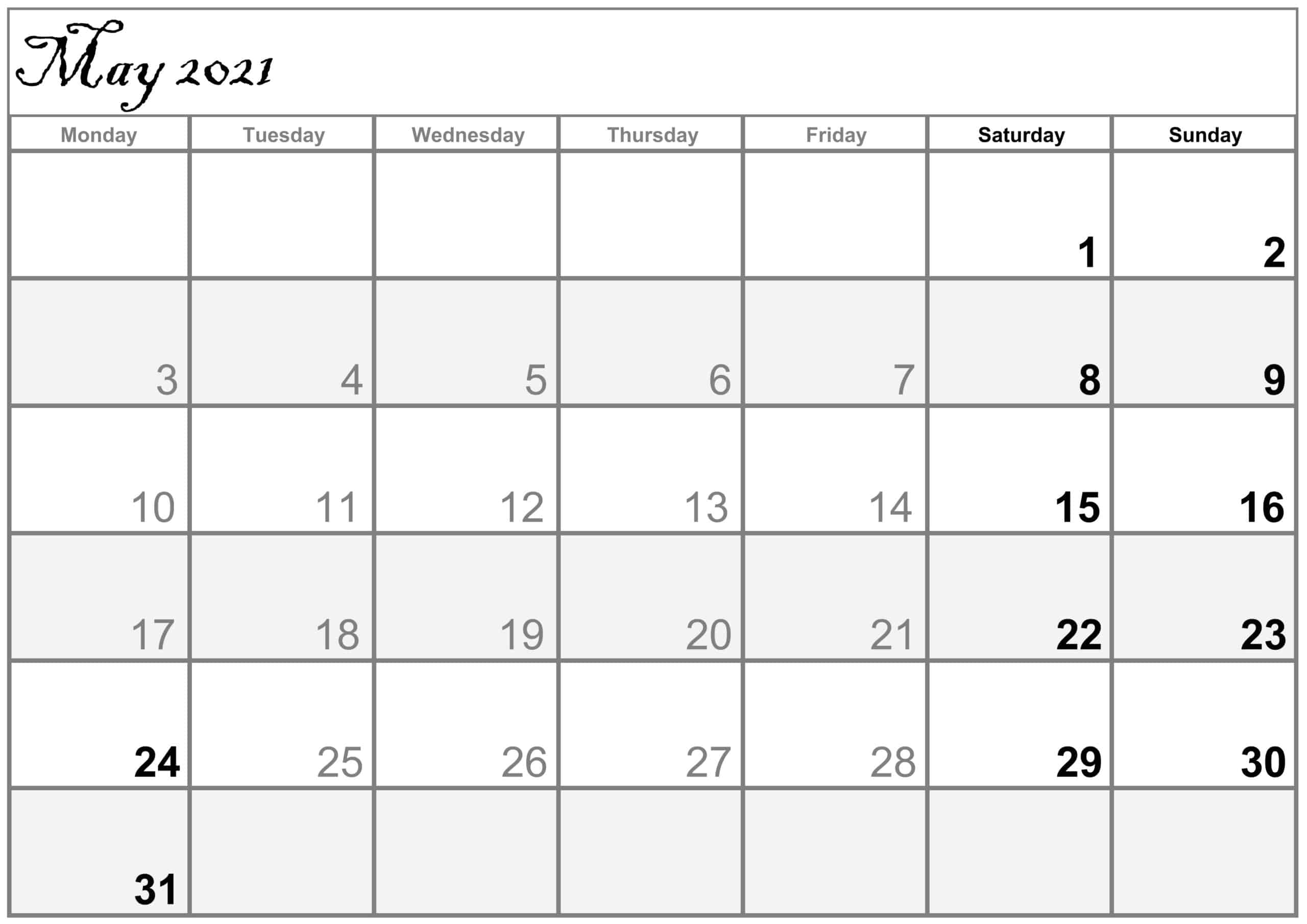 Excel May 2021 Calendar free
