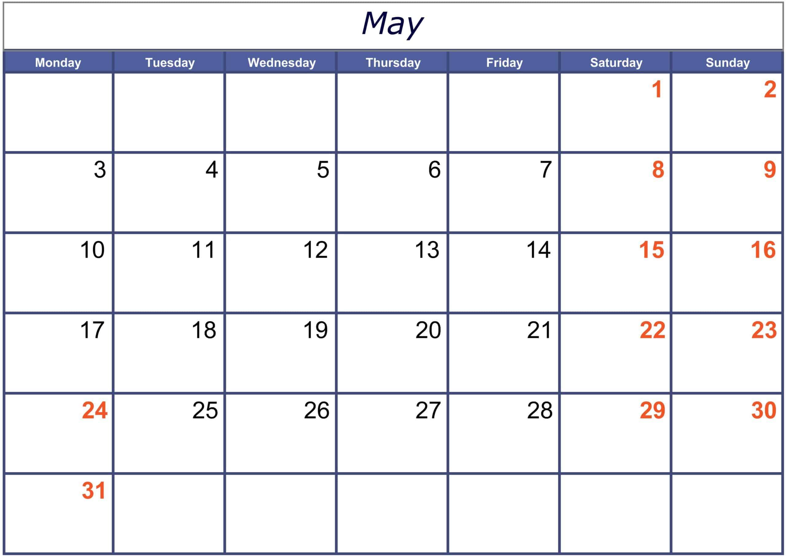 Excel May 2021 Calendar