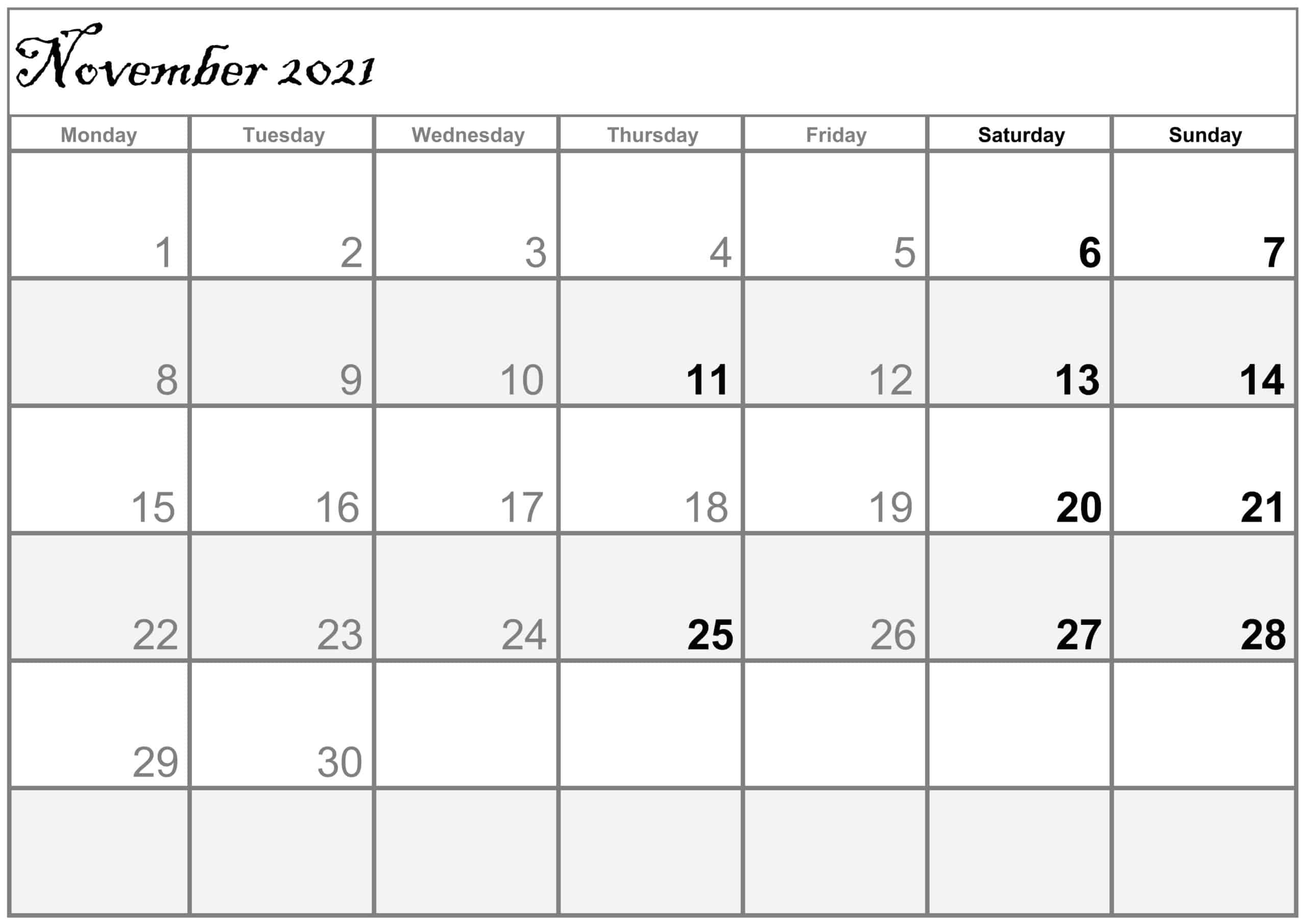 Excel November 2021 Calendar free