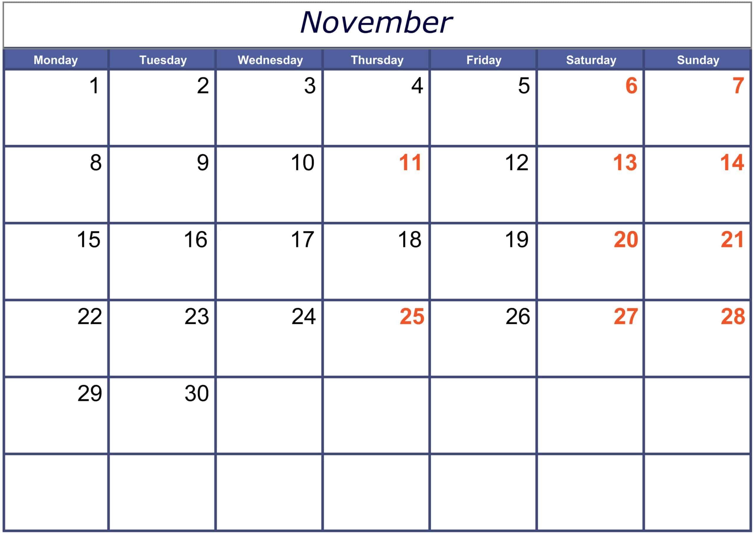 Excel November 2021 Calendar