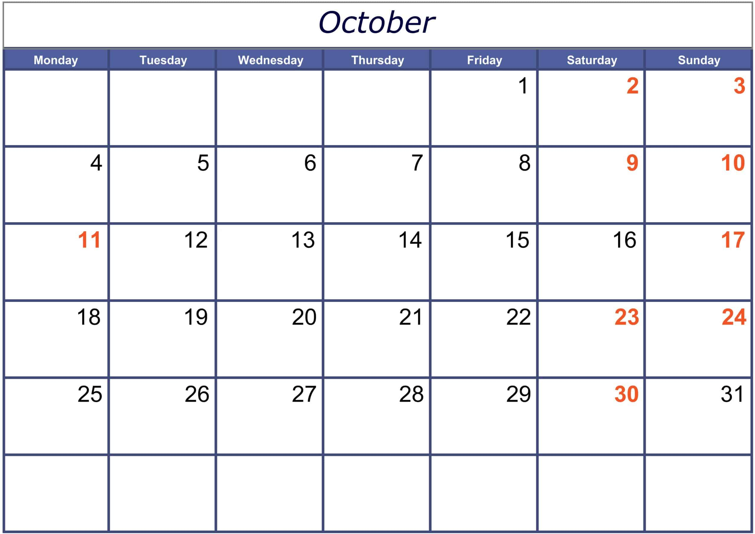 Excel October 2021 Calendar