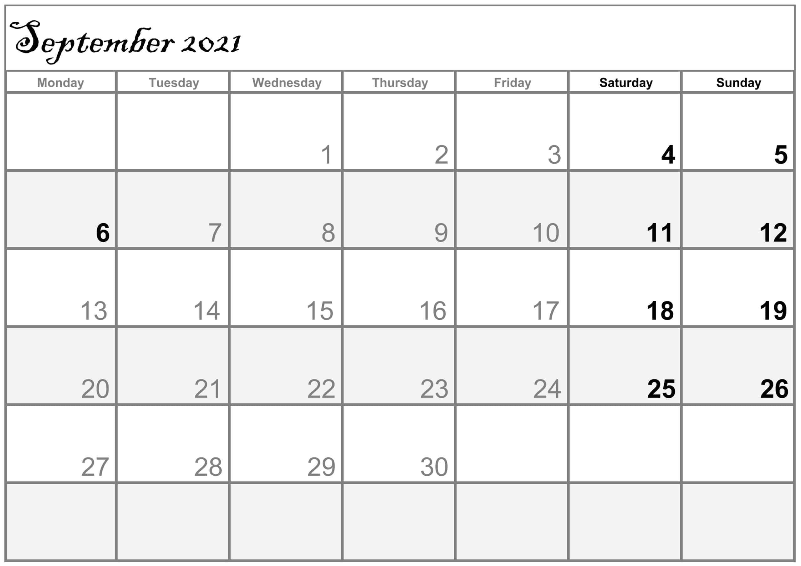 Excel September 2021 Calendar free