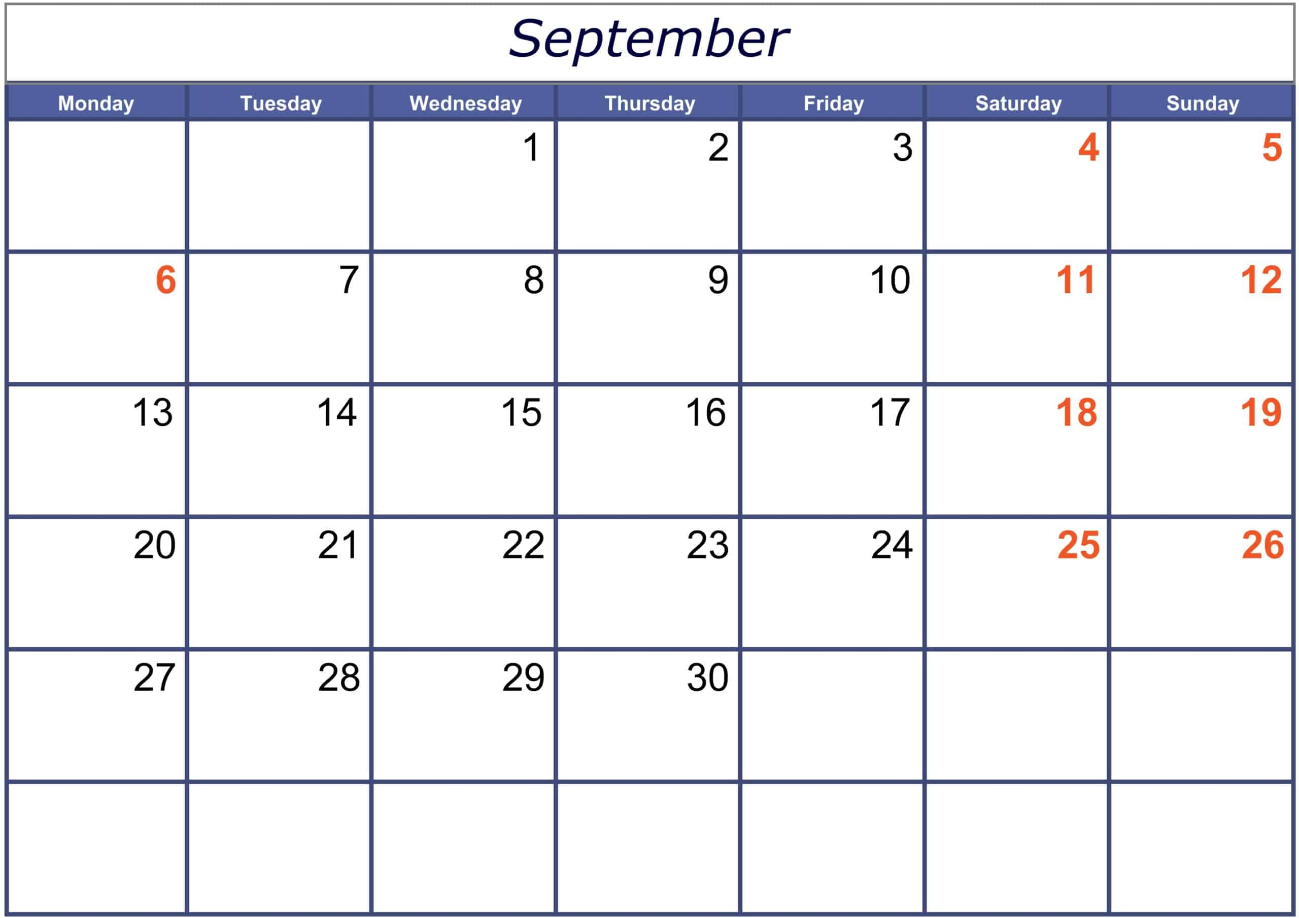 Excel September 2021 Calendar