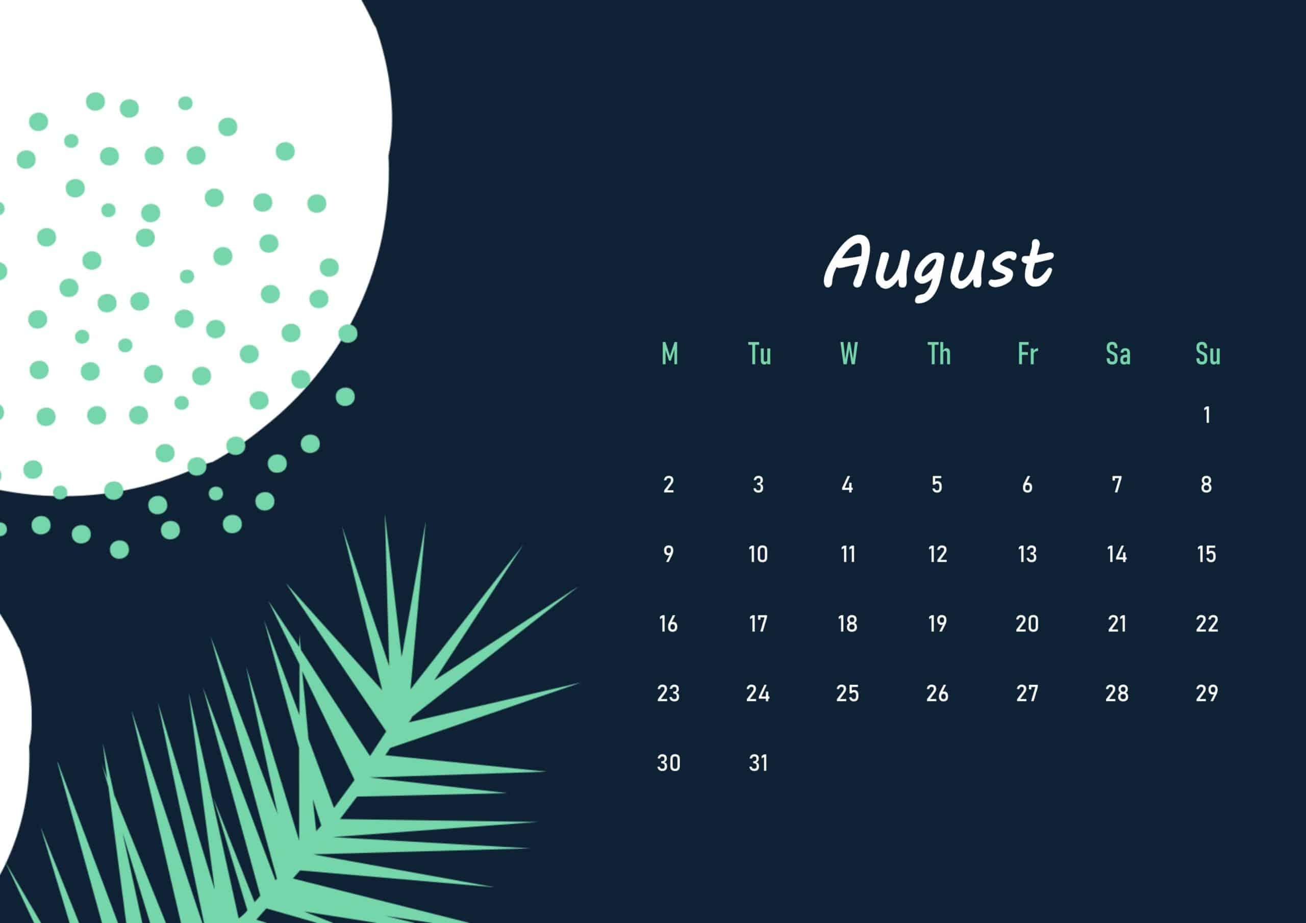 Floral Beautiful August 2021 calendar