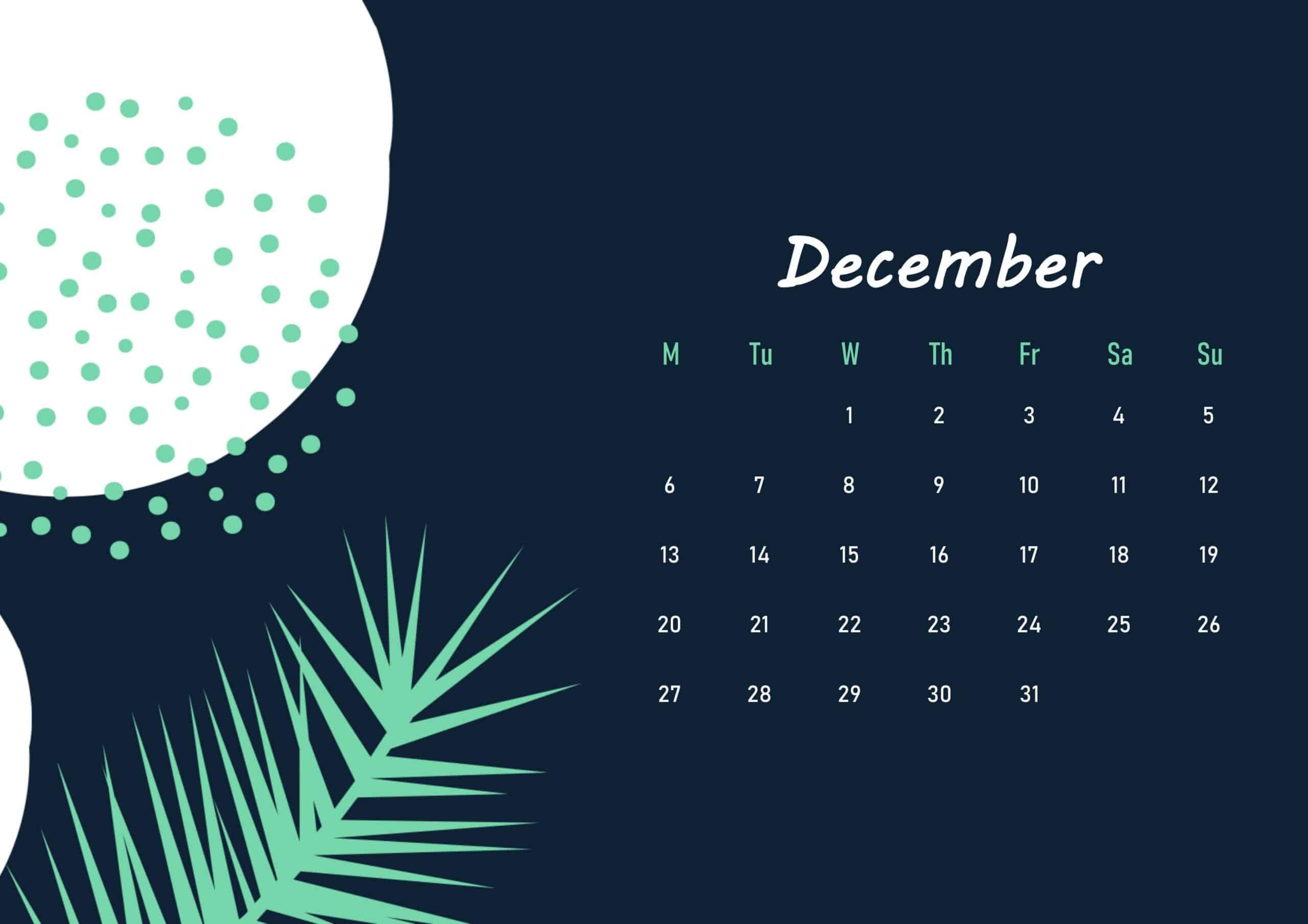 Floral Beautiful December 2021 calendar