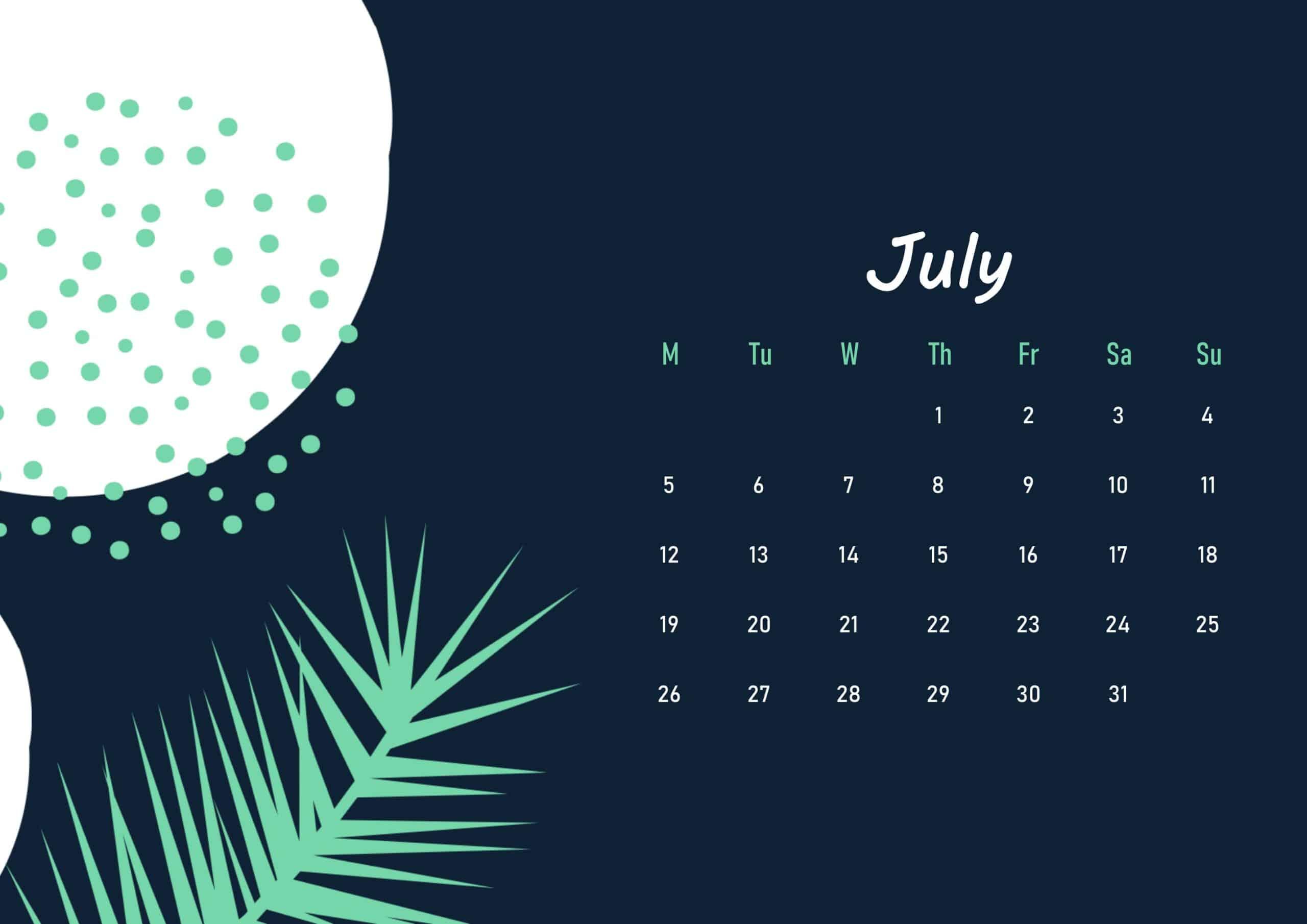 Floral Beautiful July 2021 calendar