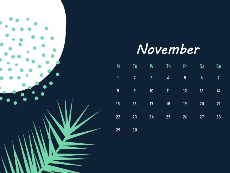 Floral Beautiful November 2021 calendar