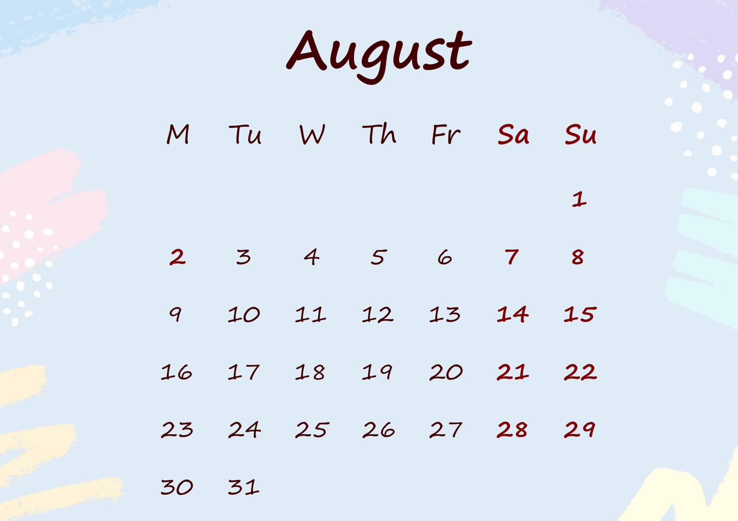 Floral Calendar August 2021