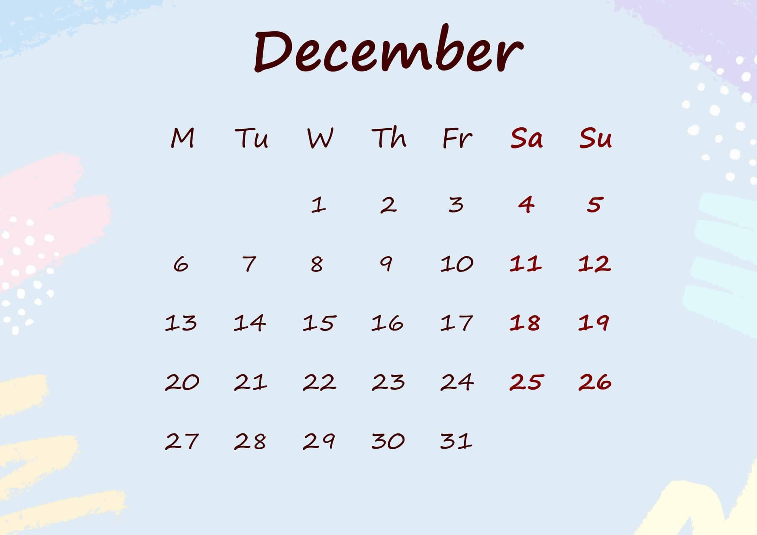 Floral Calendar December 2021