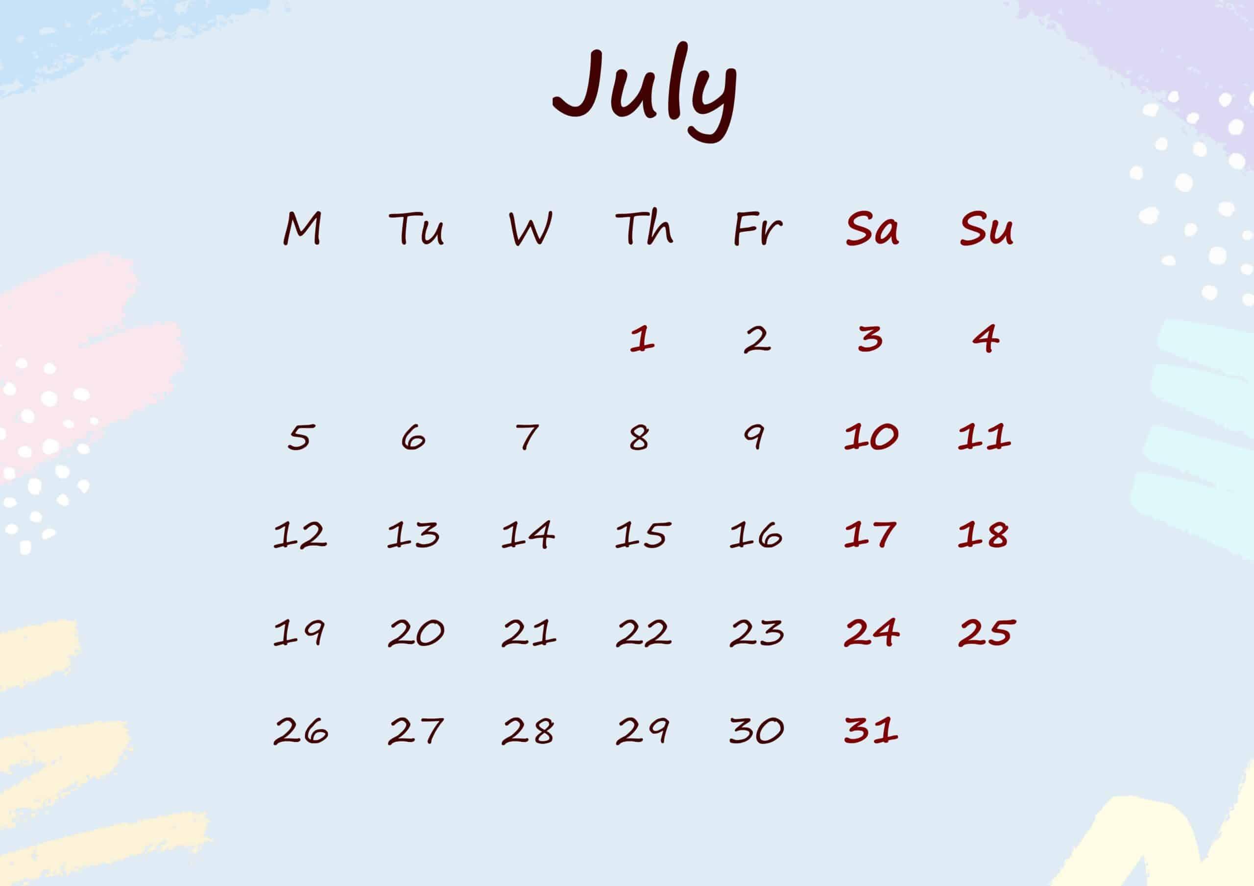 Floral Calendar July 2021