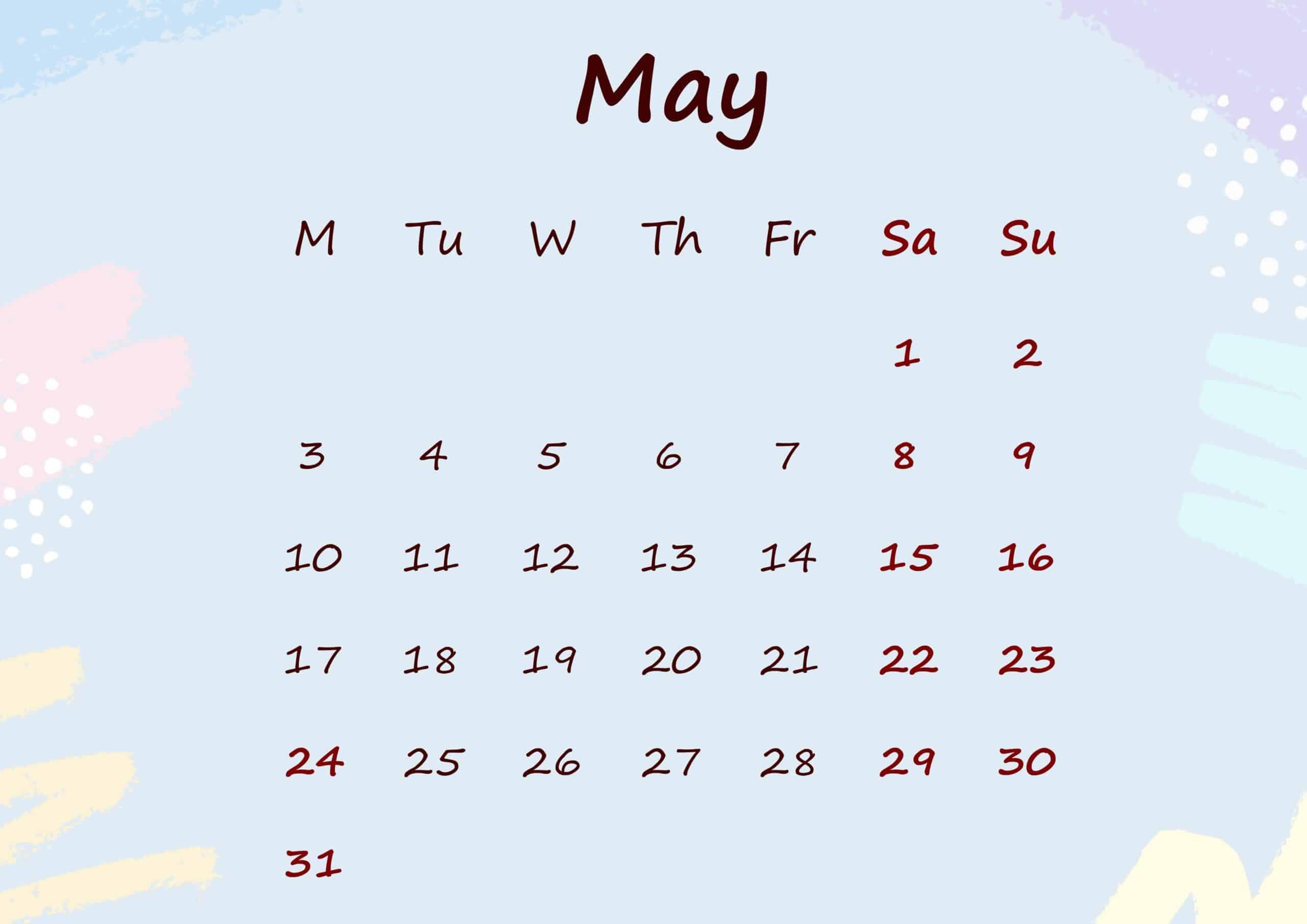 Floral Calendar May 2021