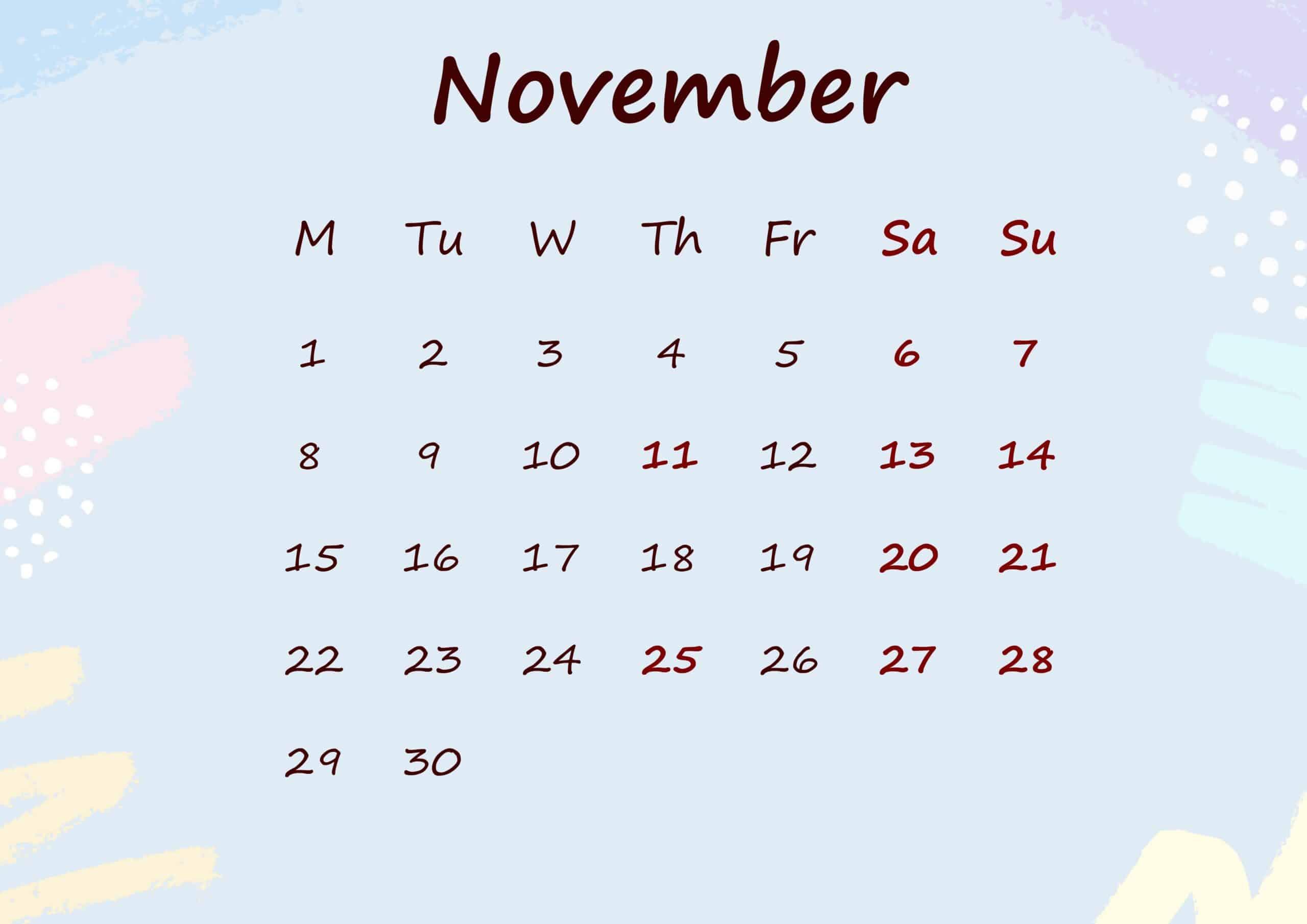 Floral Calendar November 2021