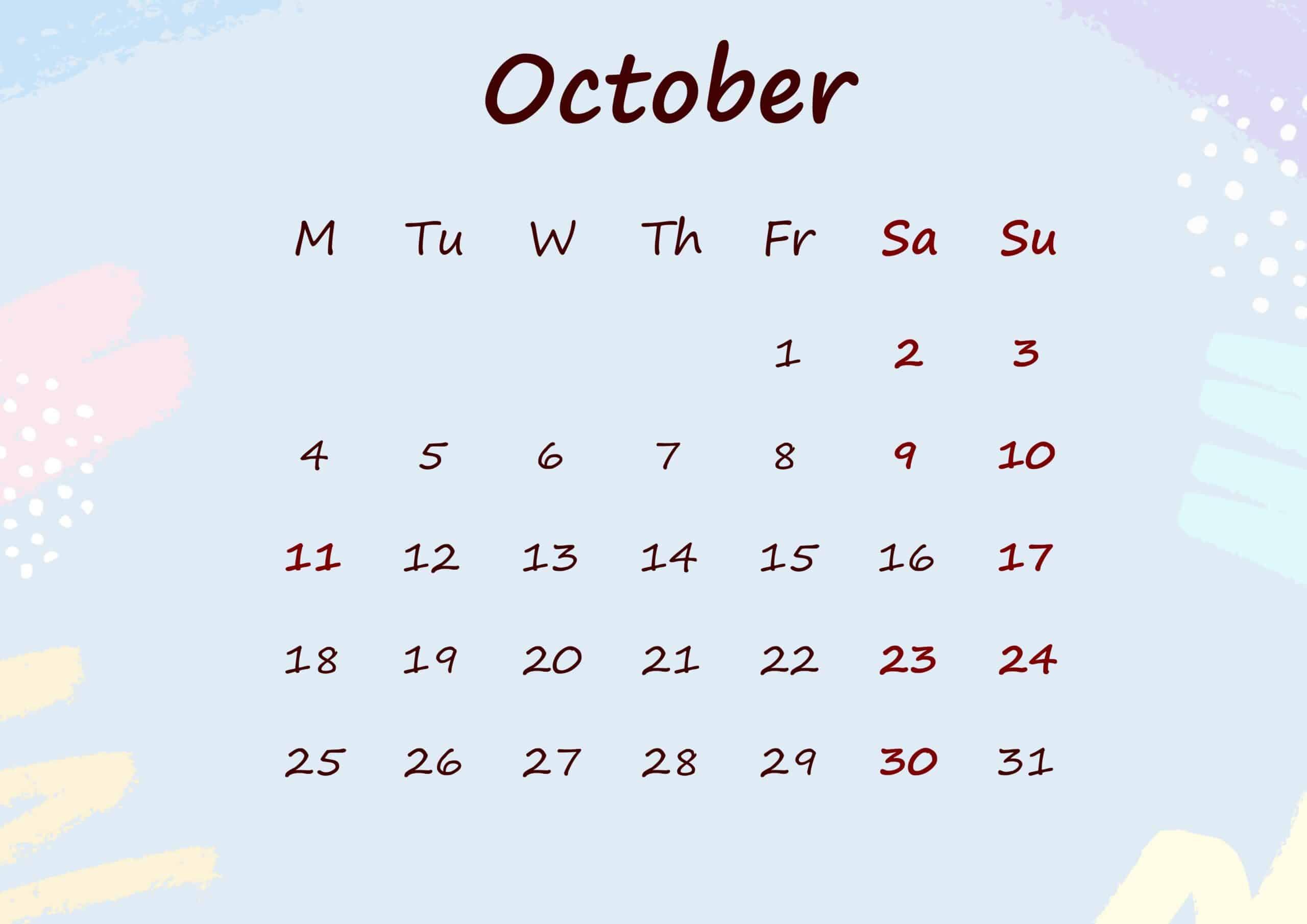 Floral Calendar October 2021