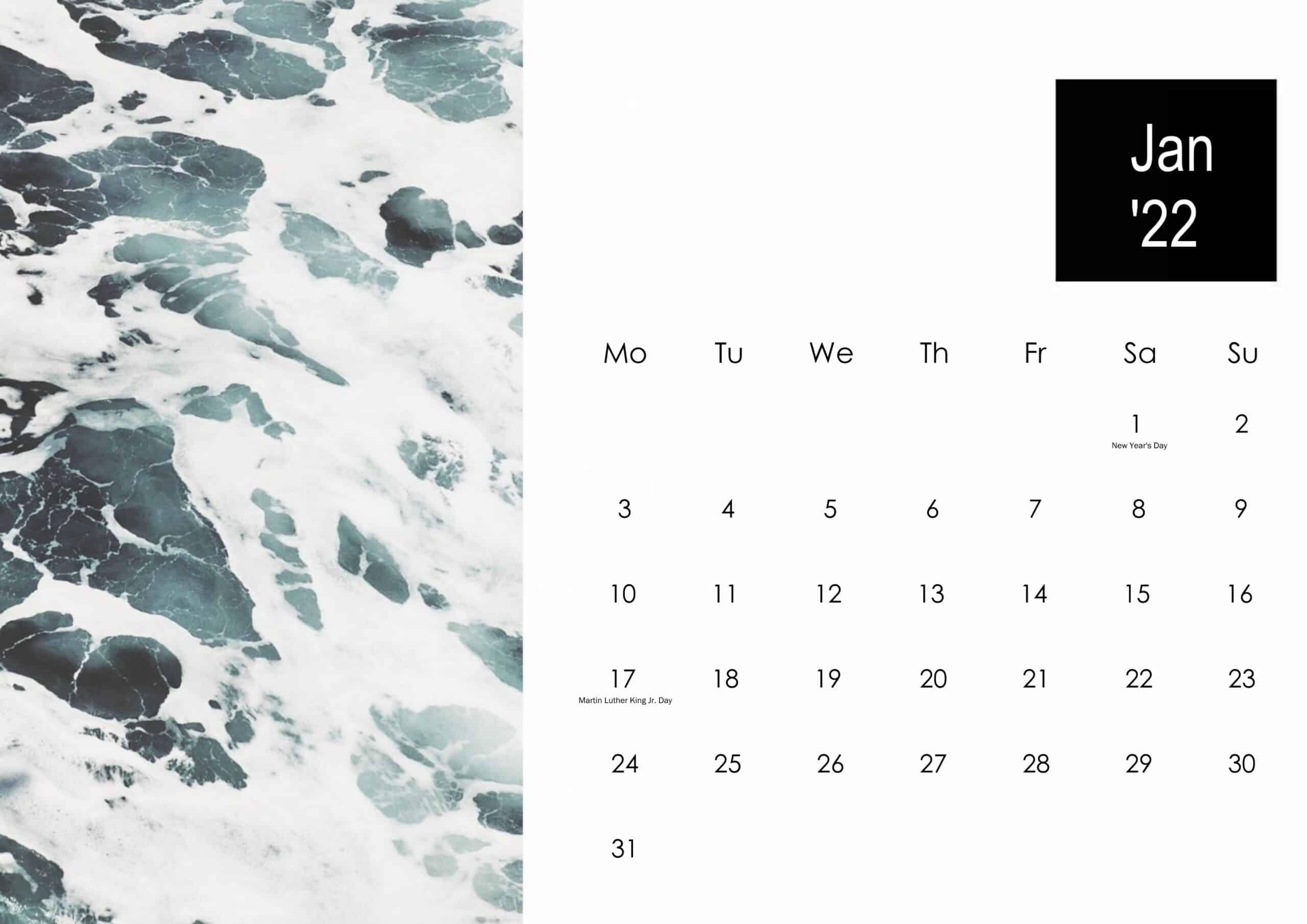 January 2022 Calendar Cute
