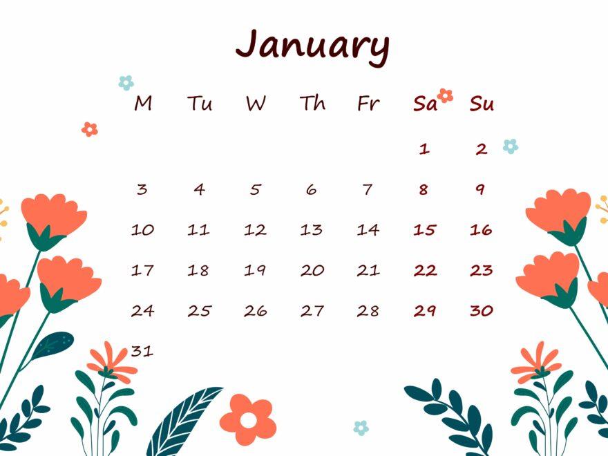 January 2022 Calendar Printable For Kids